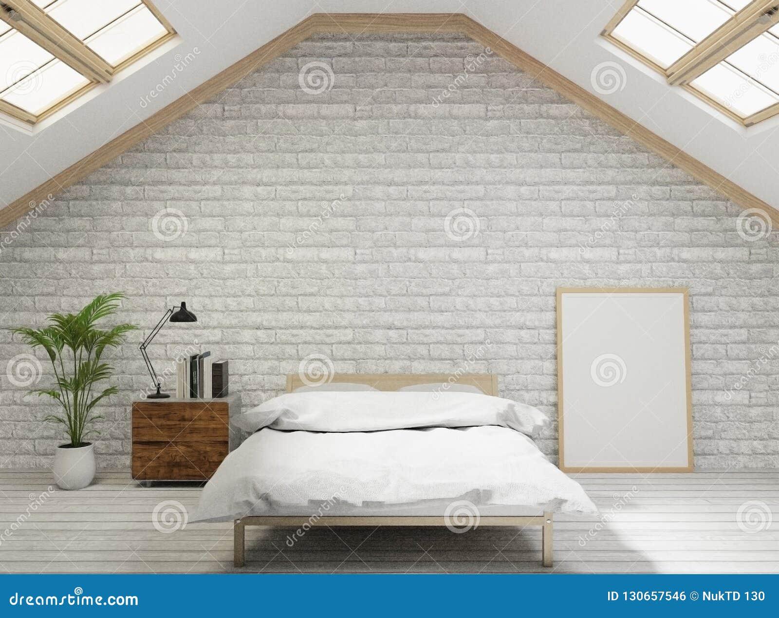 3D renderingu Loft stylu sypialnia z białą ścianą z cegieł, drewniana podłoga, drzewo, rama dla egzaminu próbnego w górę