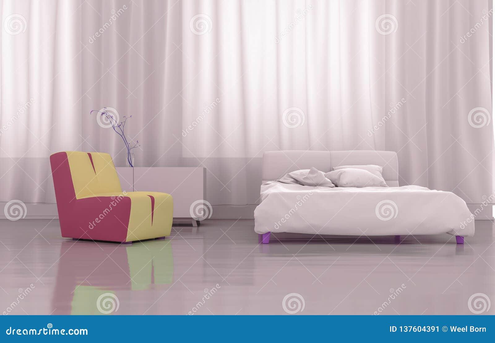 3D renderingu menchii sypialnia