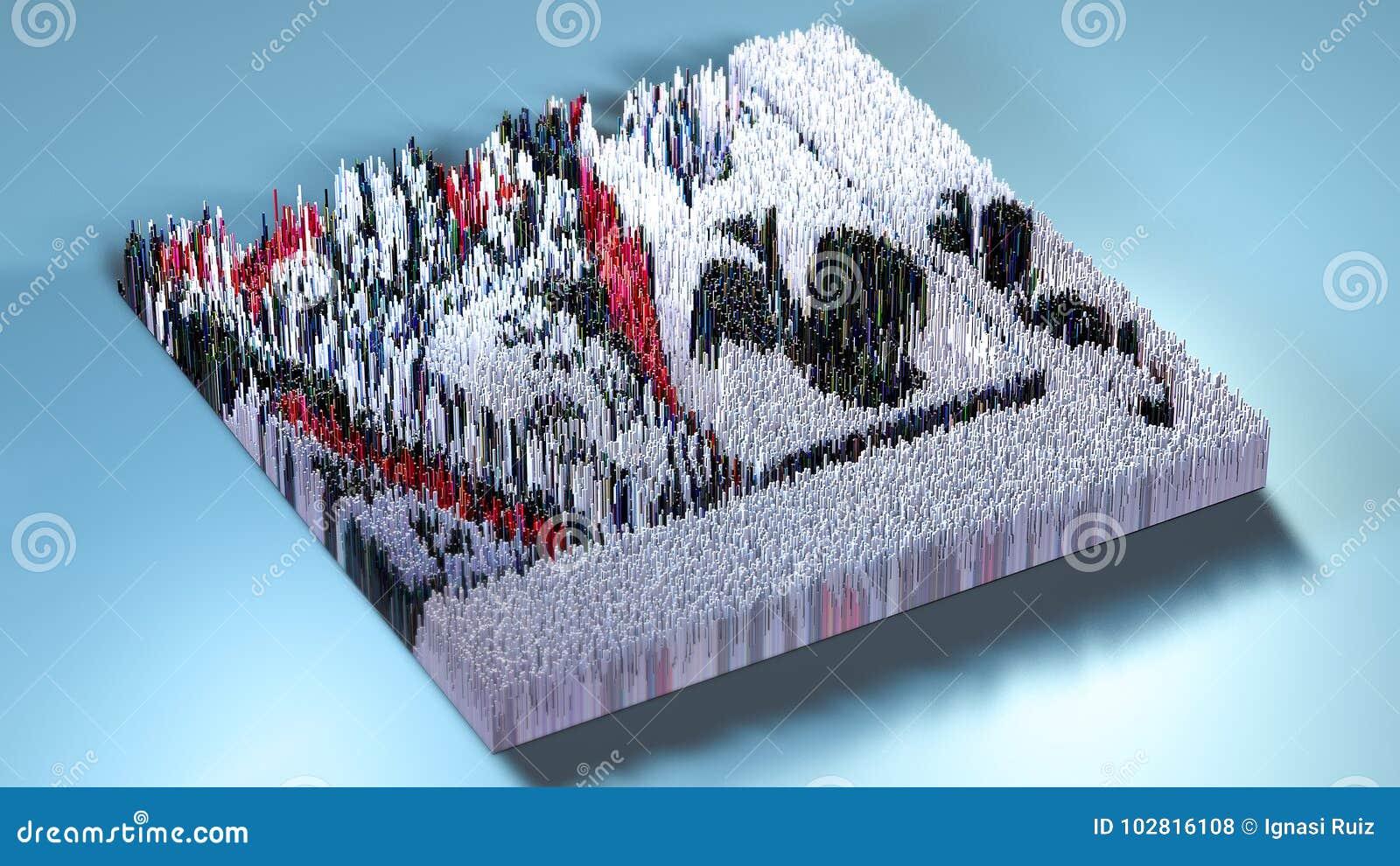 3d renderingu terenoznawstwo z sześcianami