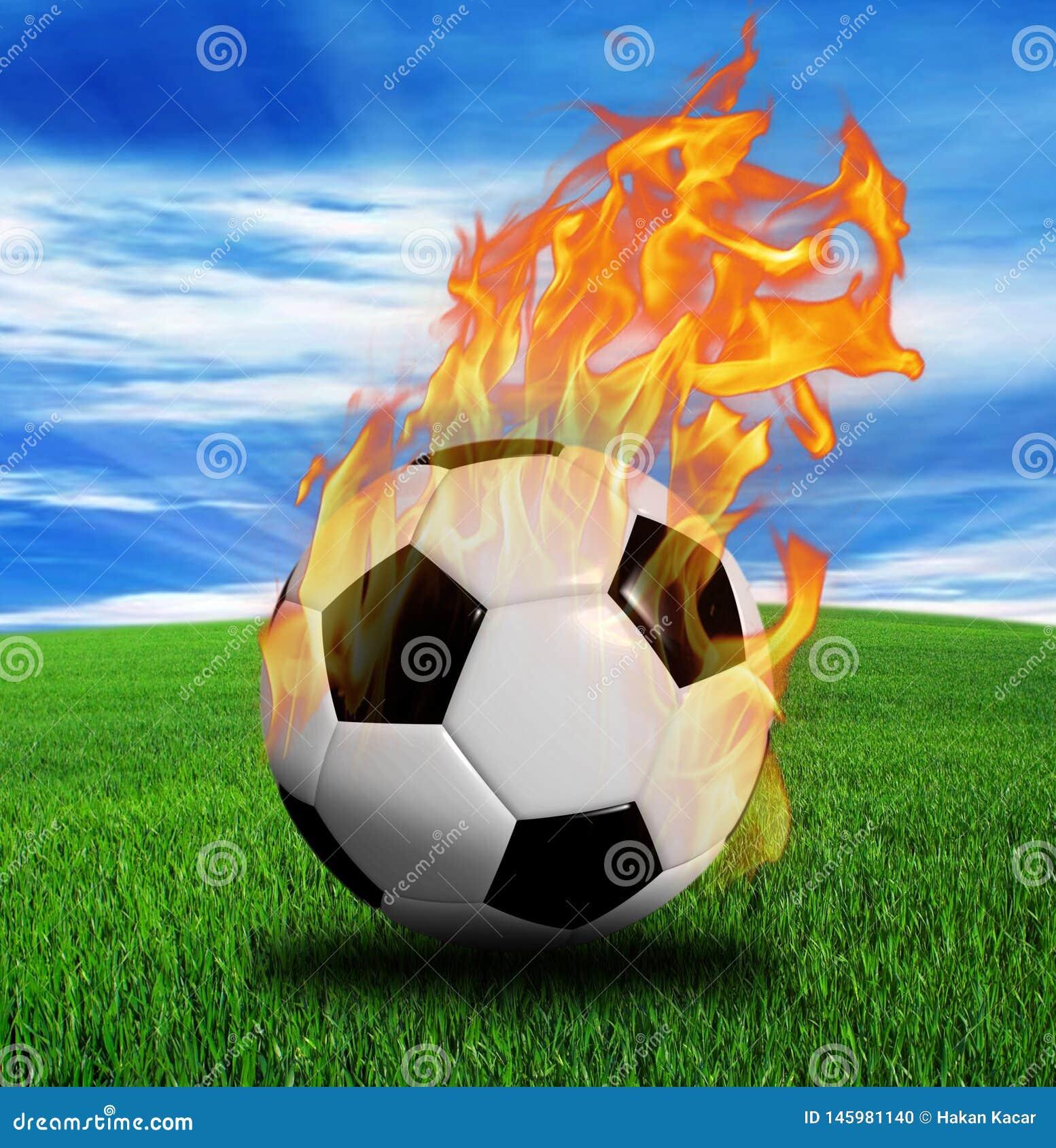 3D rendição, bola de futebol no fogo,