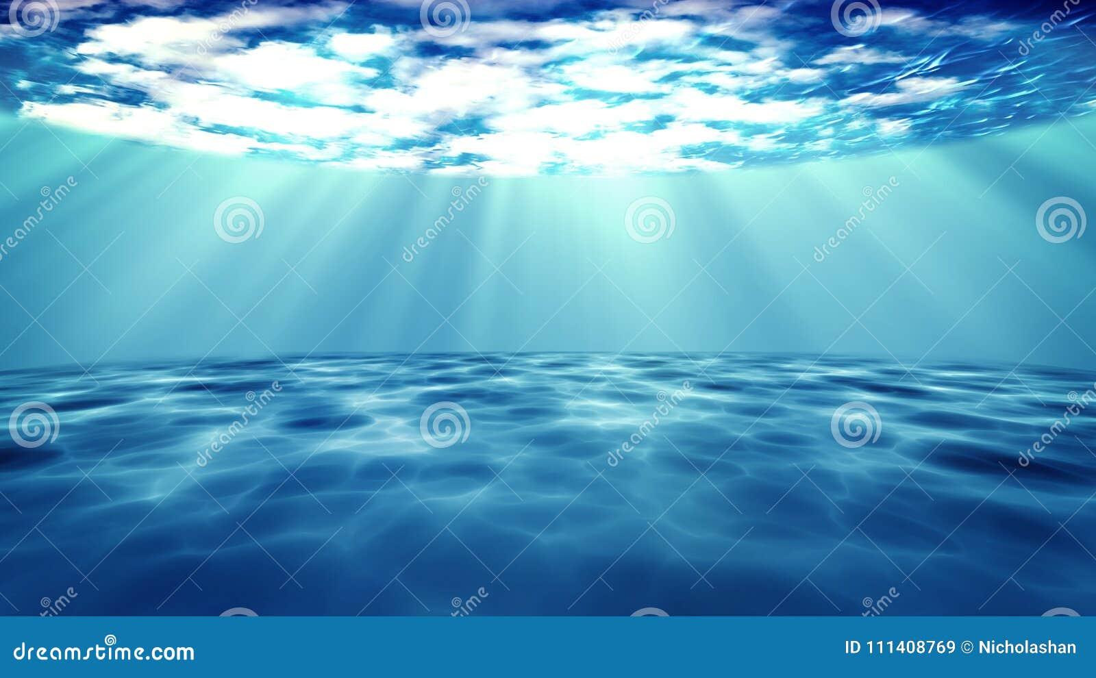 3D rendido de raios claros do sol sob a água