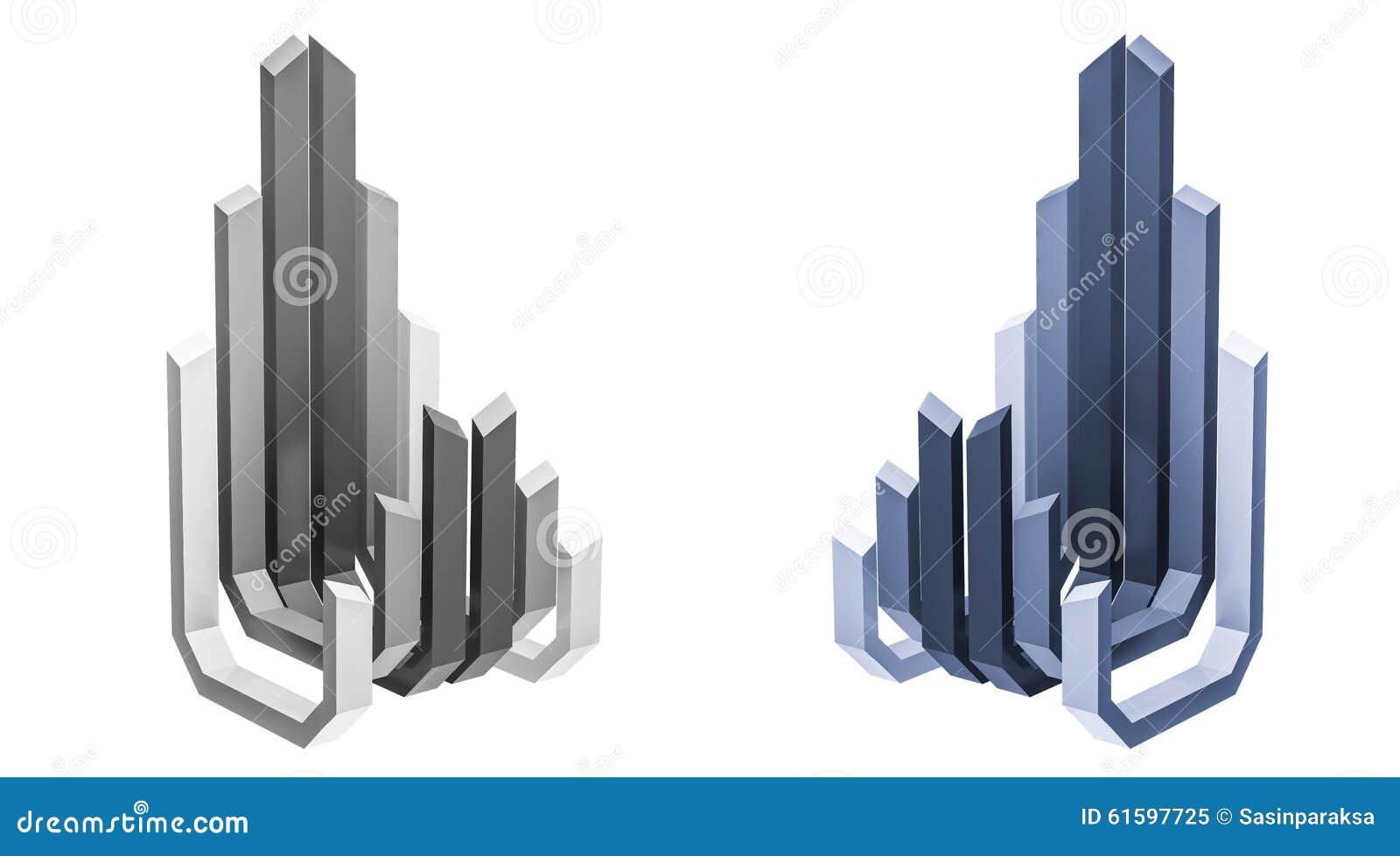 3d rendido, logotipo abstrato da construção, opinião de perspectiva