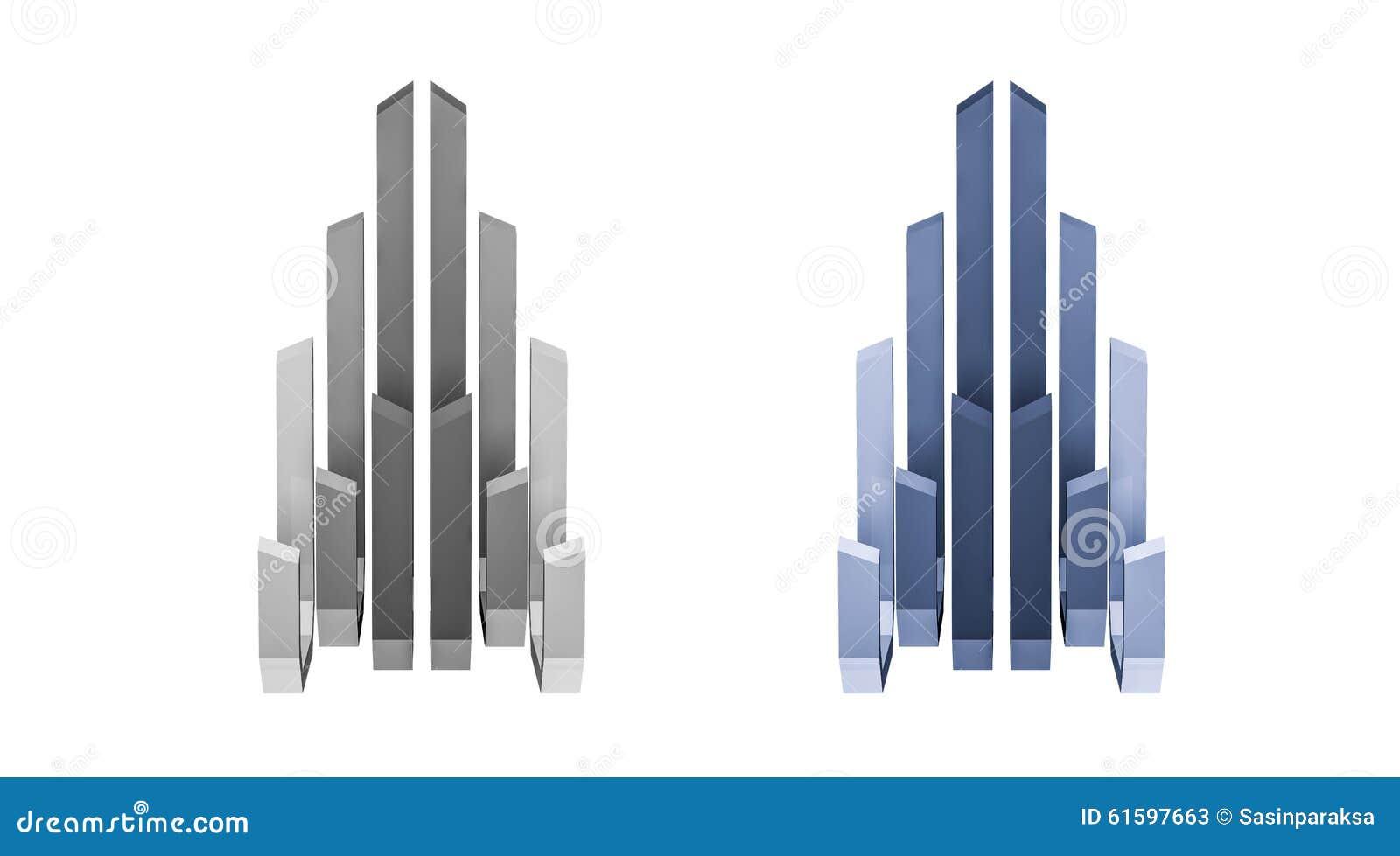 3d rendido, logotipo abstrato da construção, vista dianteira