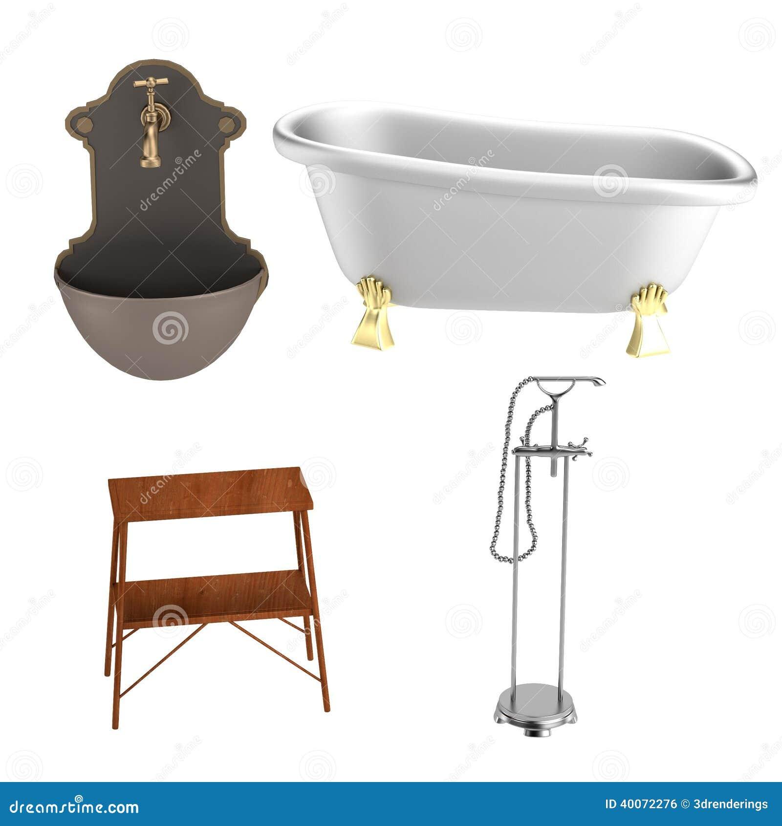 3d rendono degli elementi del bagno illustrazione di stock for Elementi bagno