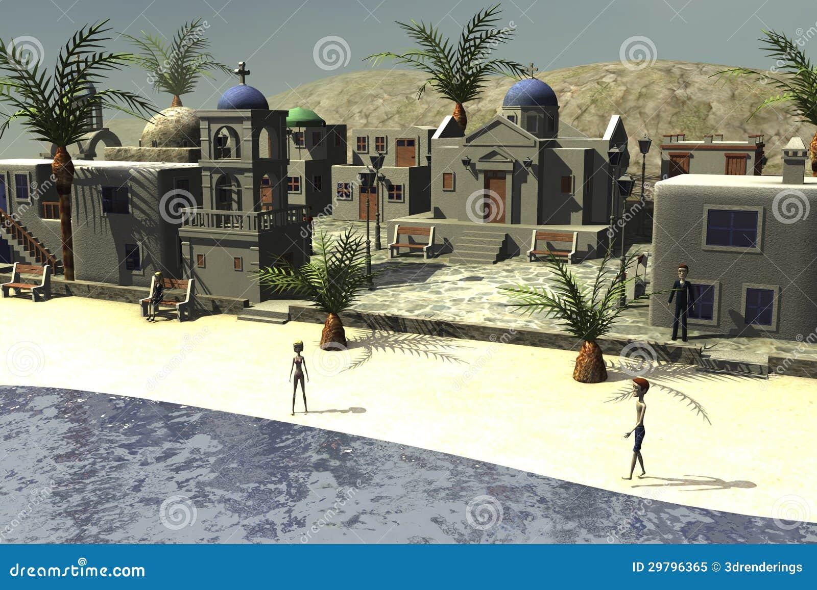 Personaggi dei cartoni animati in villaggio greco dal mare - Cartoni animati mare immagini ...