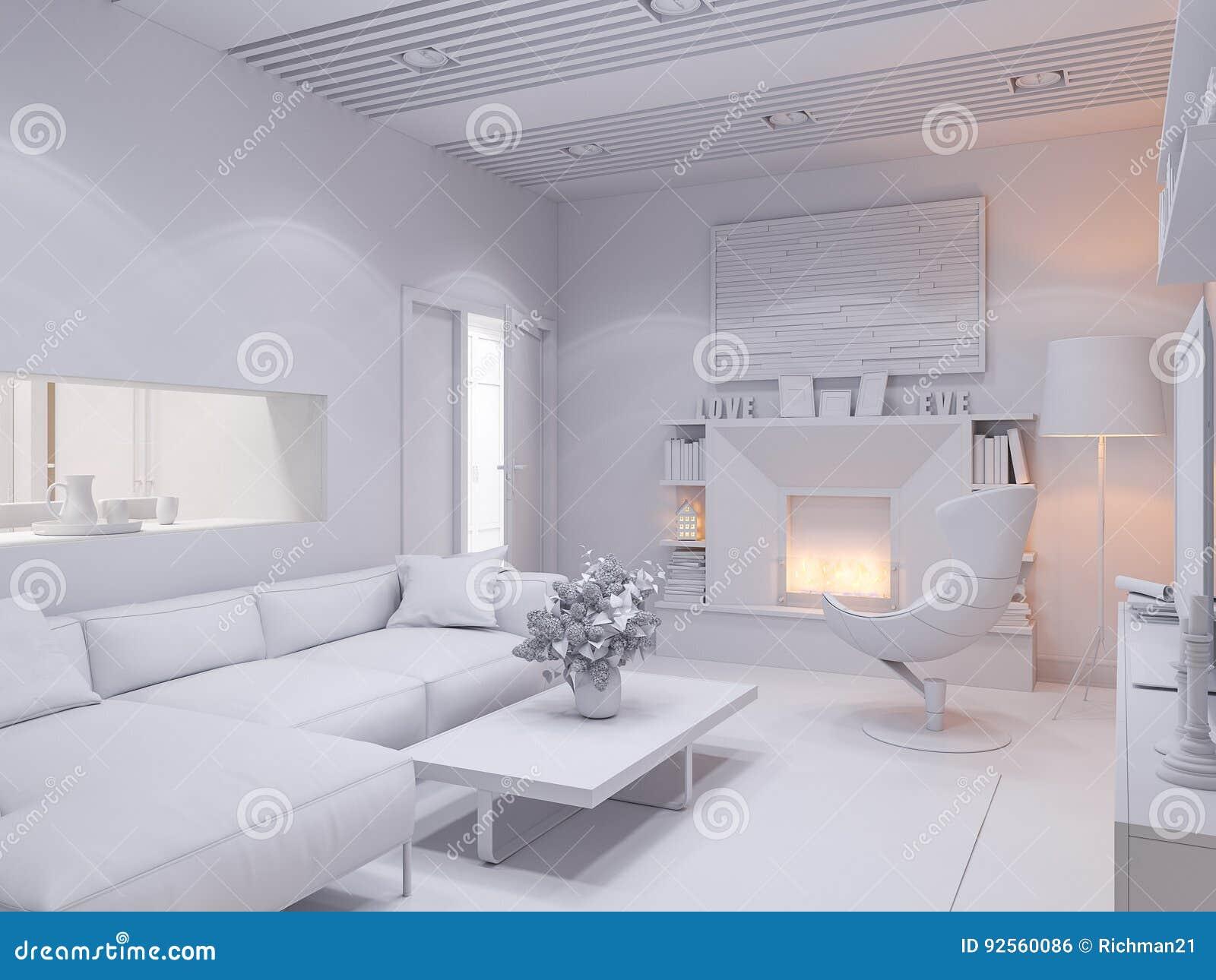 3d rendono del salone di interior design