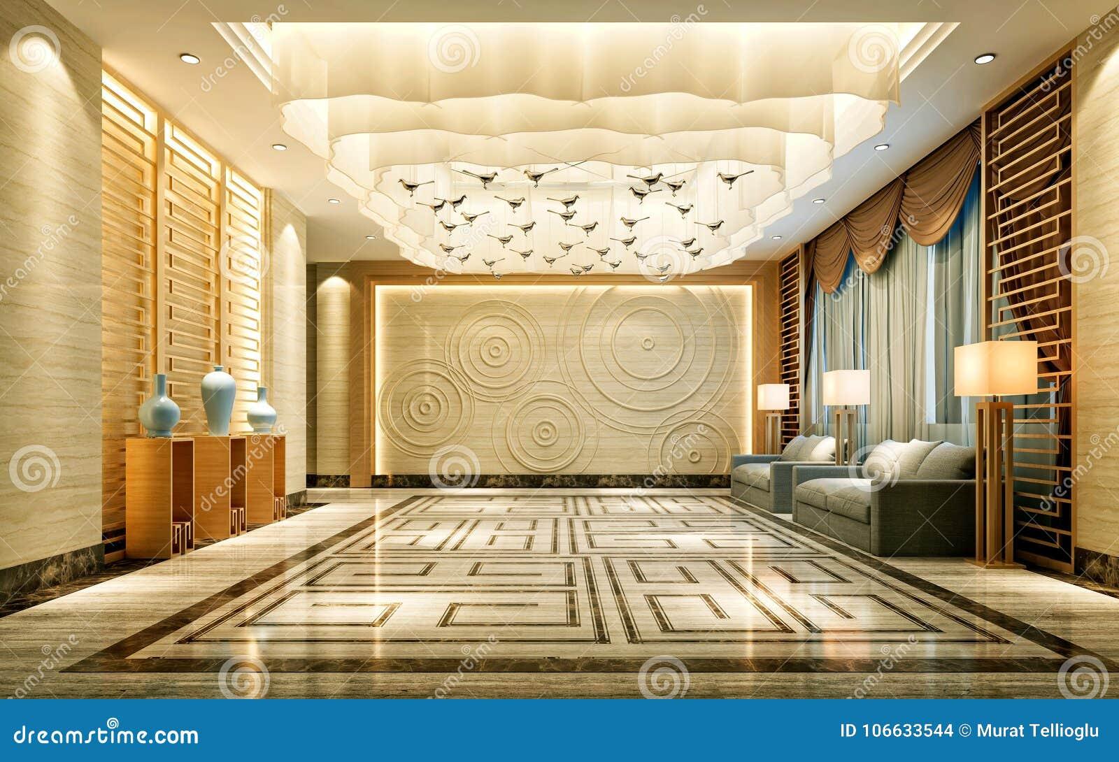 Hotel Di Lusso Interni : 3d rendono dellinterno dellalbergo di lusso illustrazione di stock