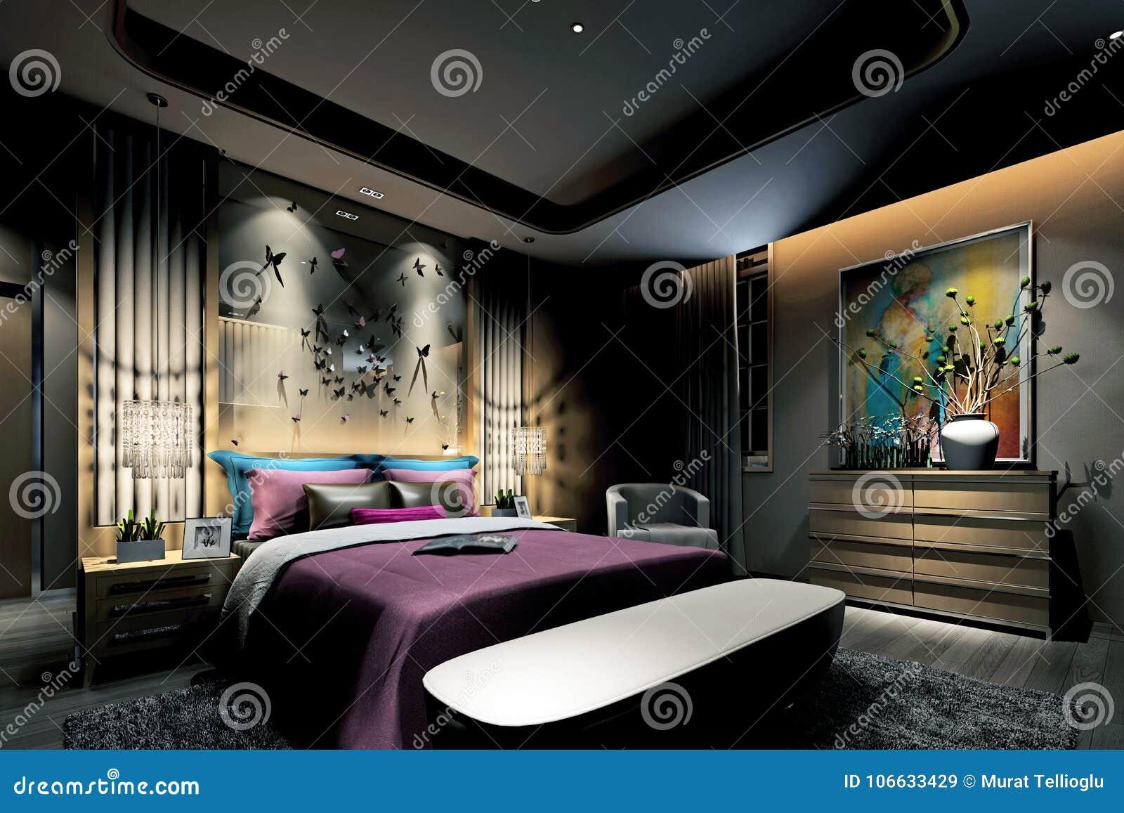 3d rendono della camera da letto