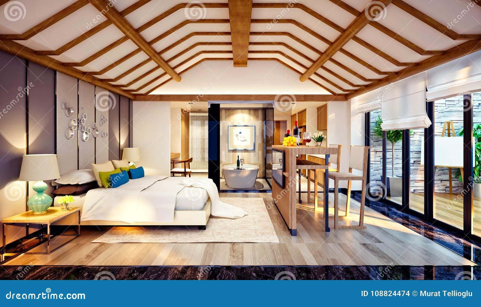 3d rendono della camera da letto del tetto