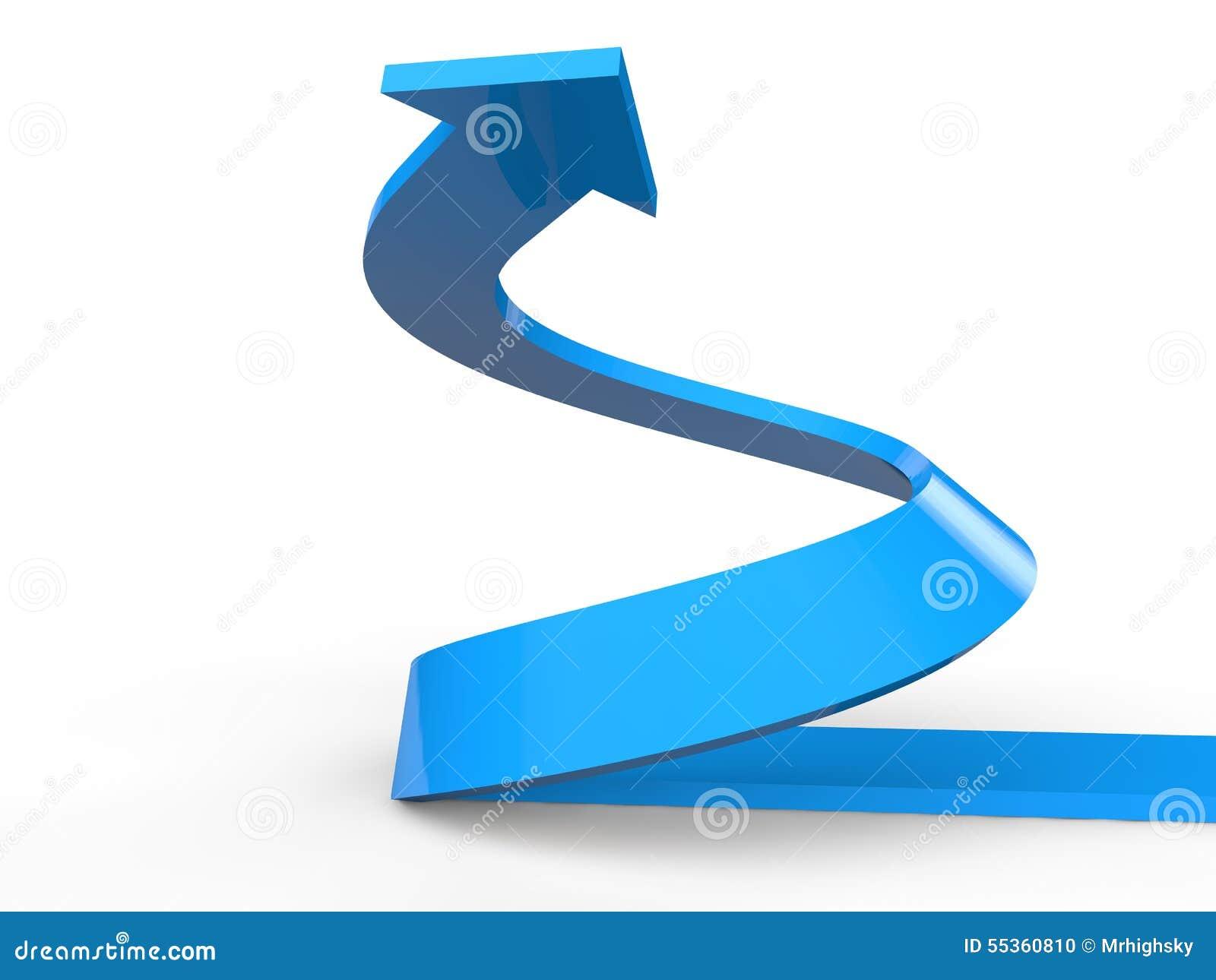 3D rendono della freccia a spirale in aumento