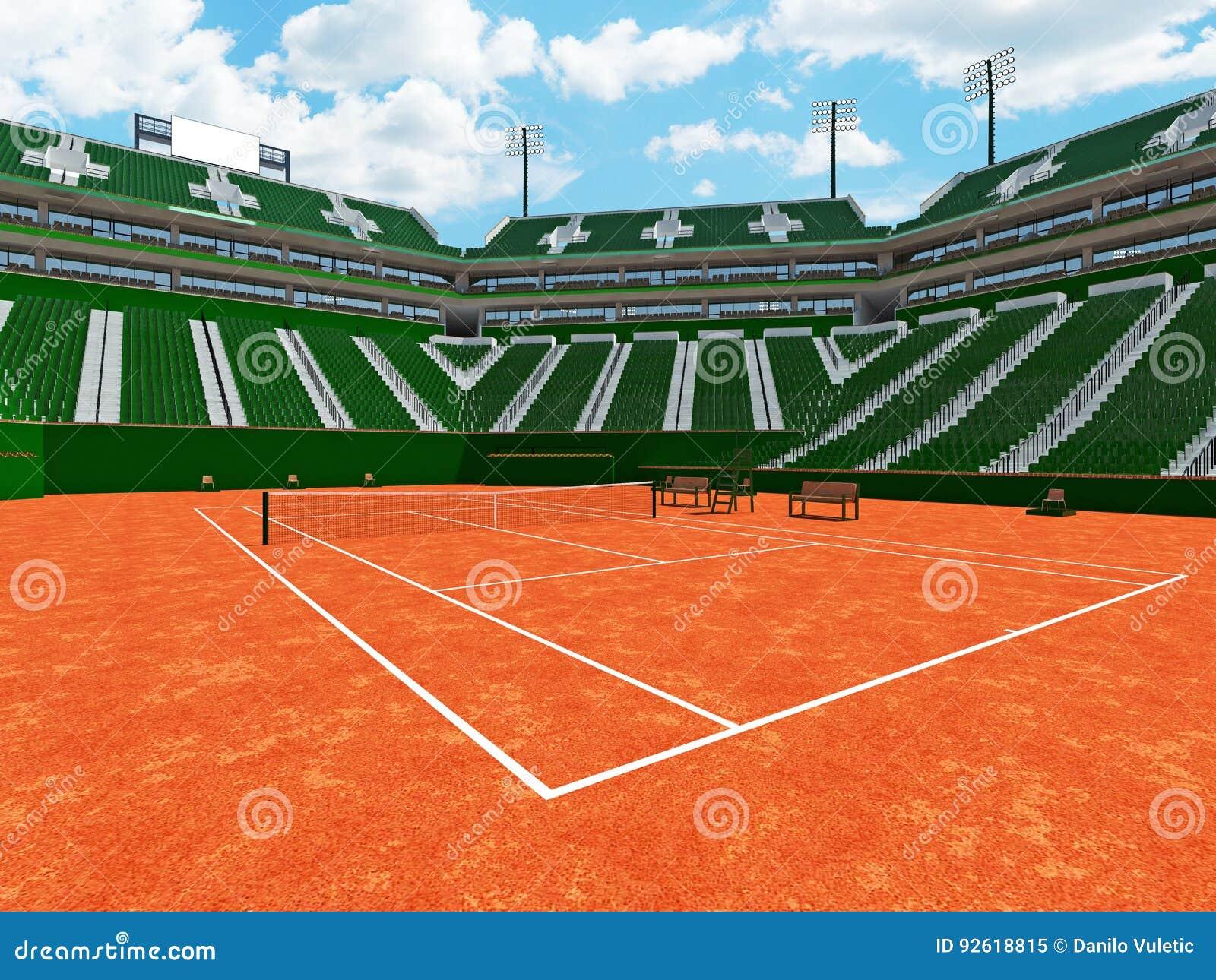 3D rendono di bei sedili moderni di verde dello stadio del campo in argilla del tennis per quindici mila fan