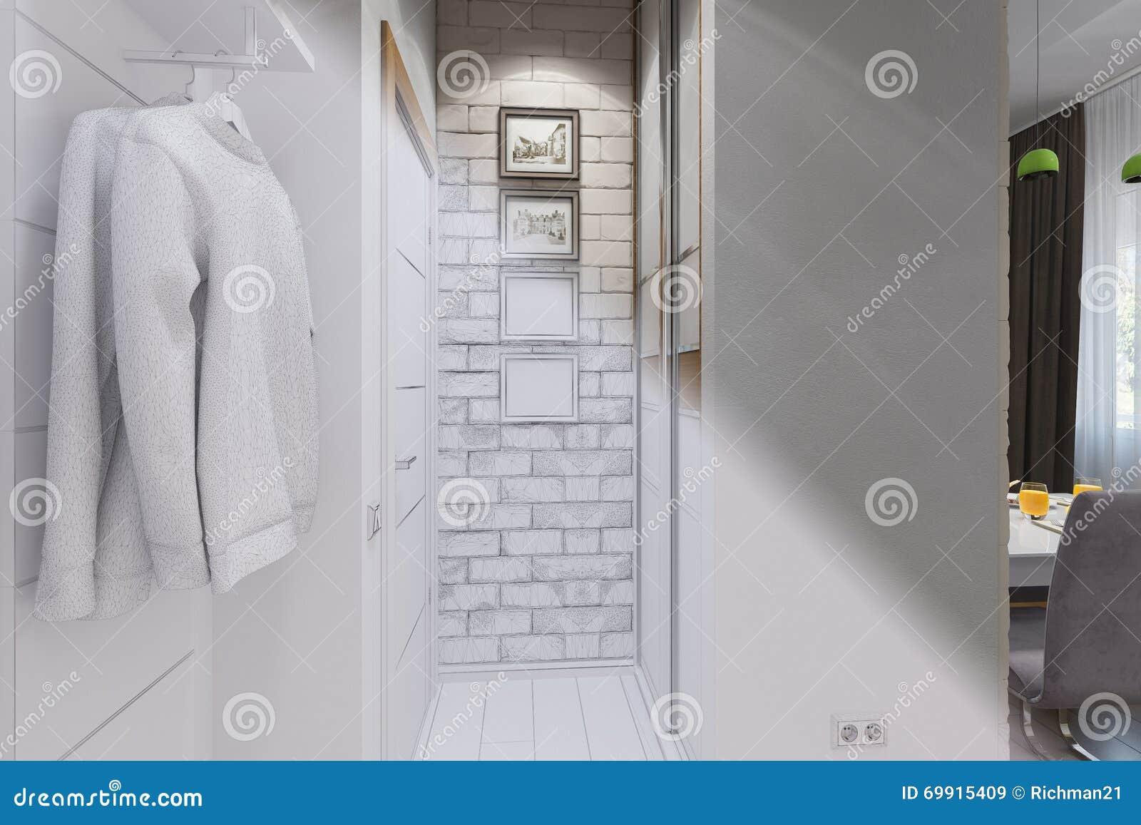 3d rendono di interior design dell 39 atrio in uno stile for Design interno moderno