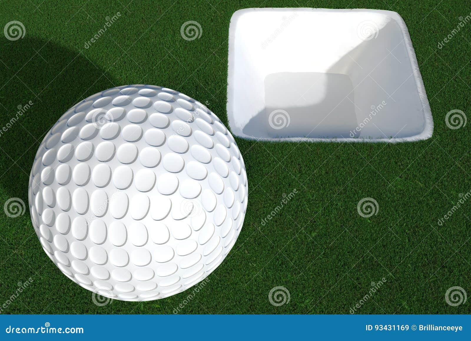 3d rendono di palla da golf davanti al foro bianco