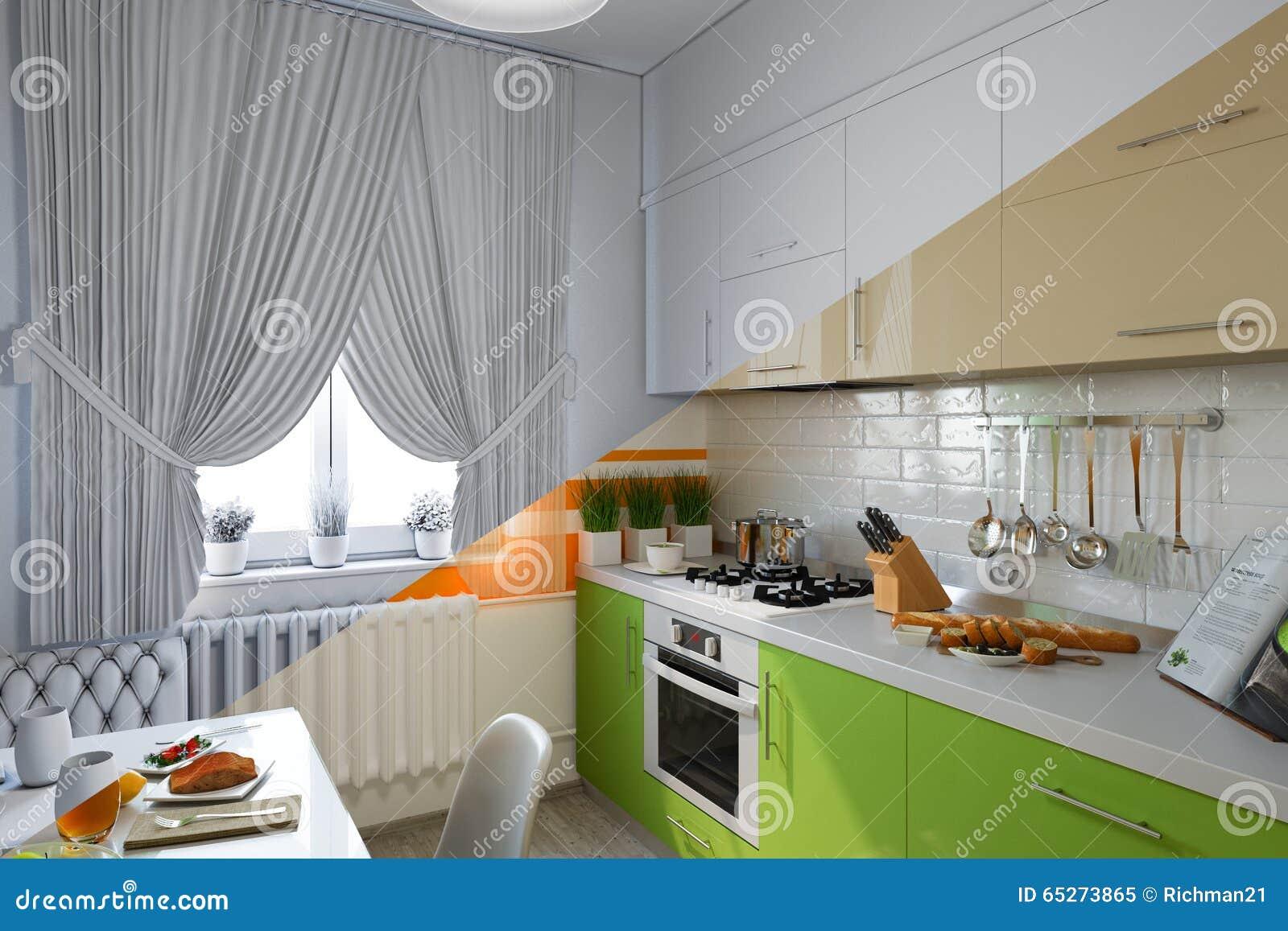 3d Rendono Di Progettazione Della Cucina In Uno Stile ...