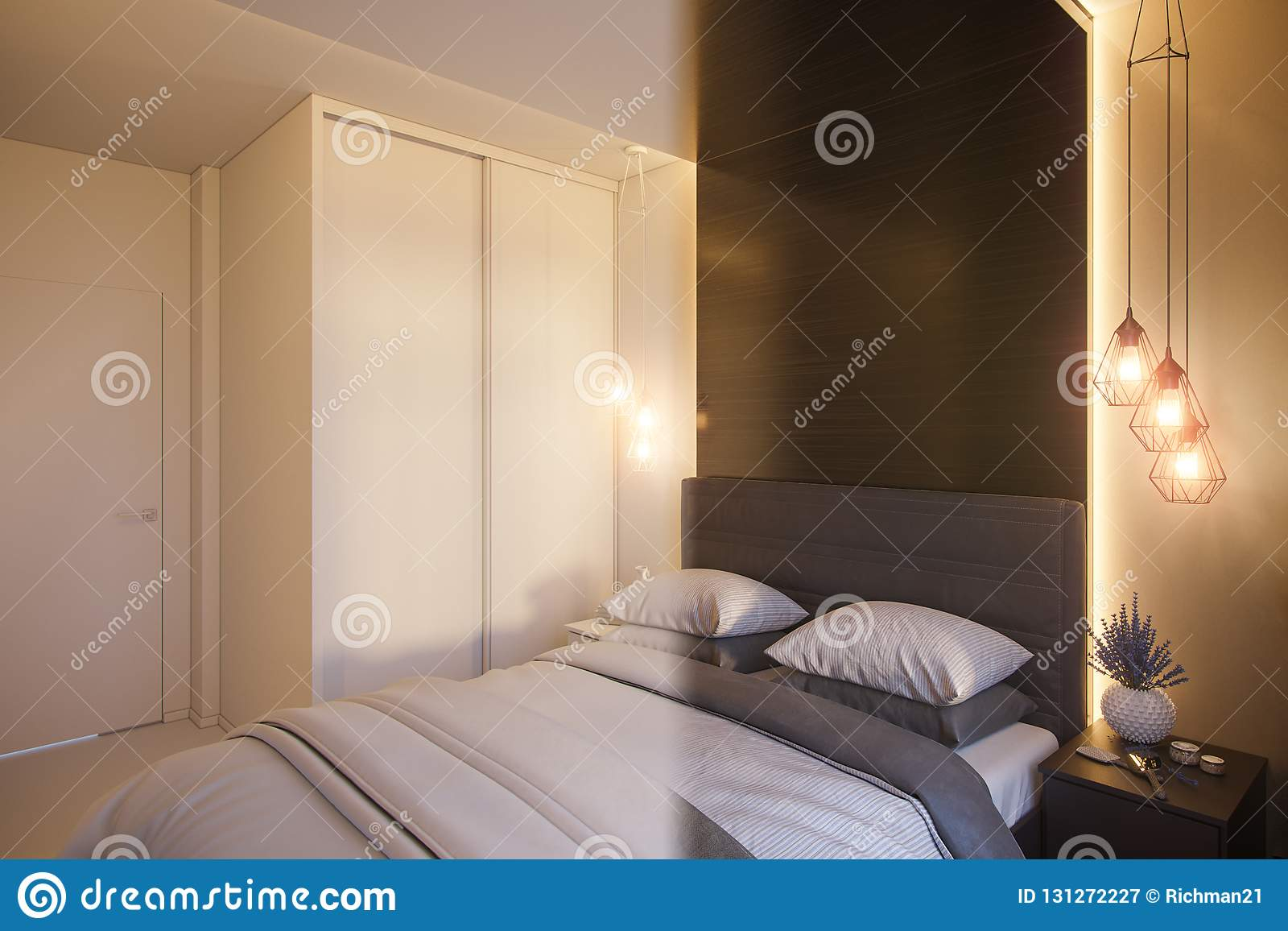 Camere Da Letto Design Minimalista : D rendono di un interior design di una camera da letto