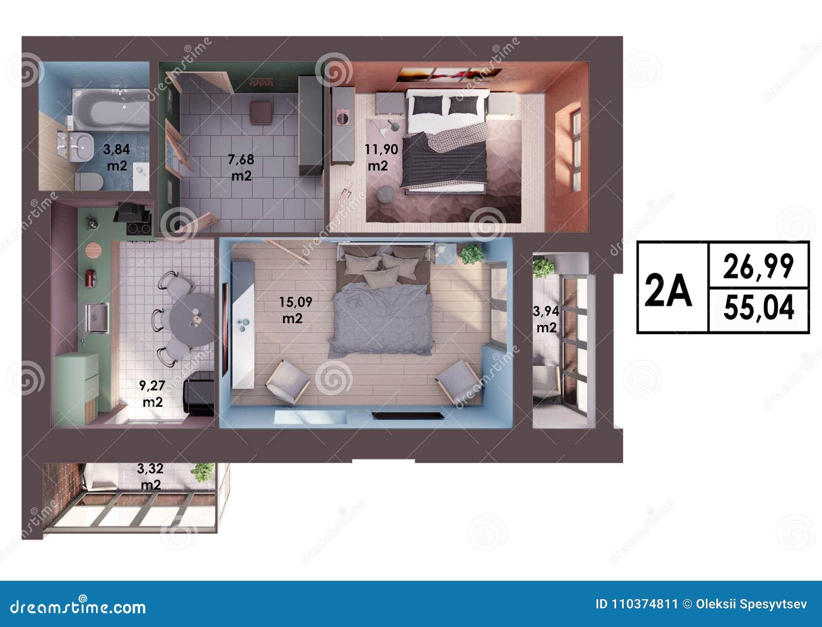 3d Rendono Il Piano Disposizione Di Un Appartamento A Due Camere