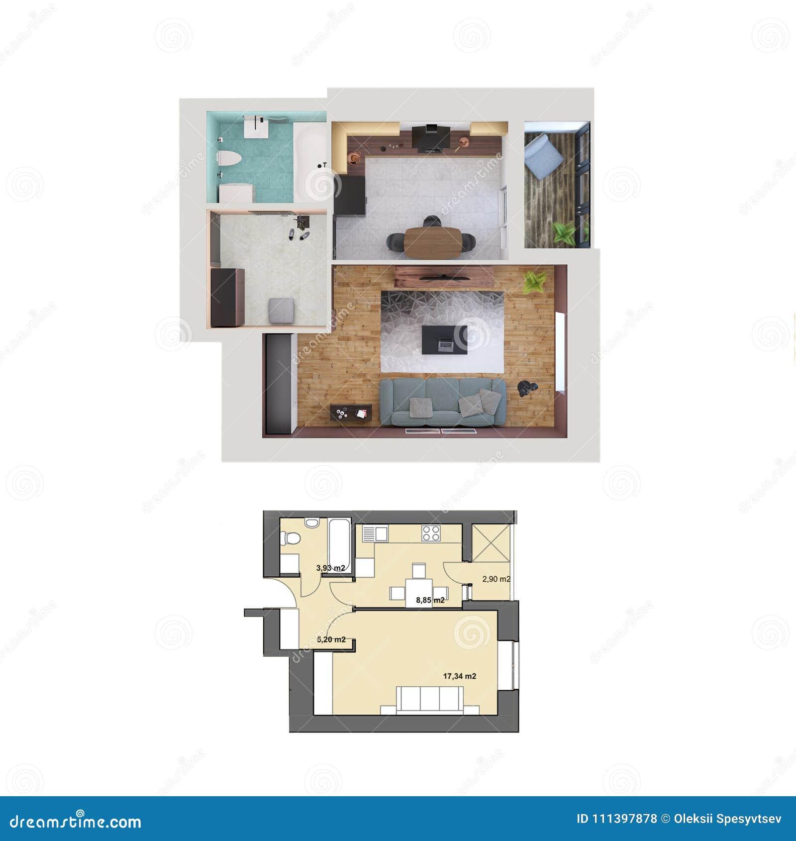 3d Rendono Il Piano E La Disposizione Di Un Un Appartamento Moderno ...