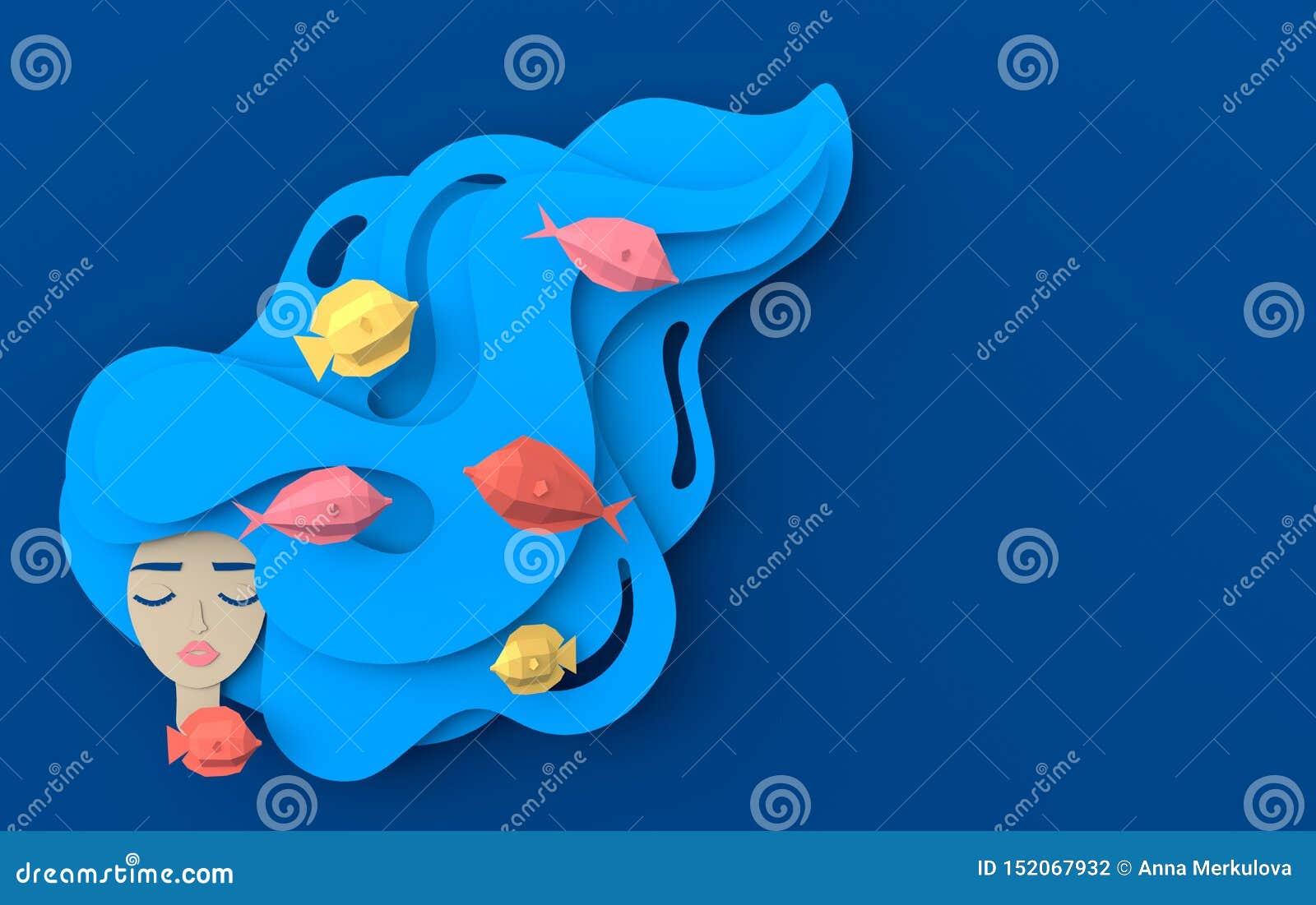 3d rendono il ritratto di giovane bella sirena della donna con capelli ondulati lunghi Vita di mare subacquea di carta con i pesc