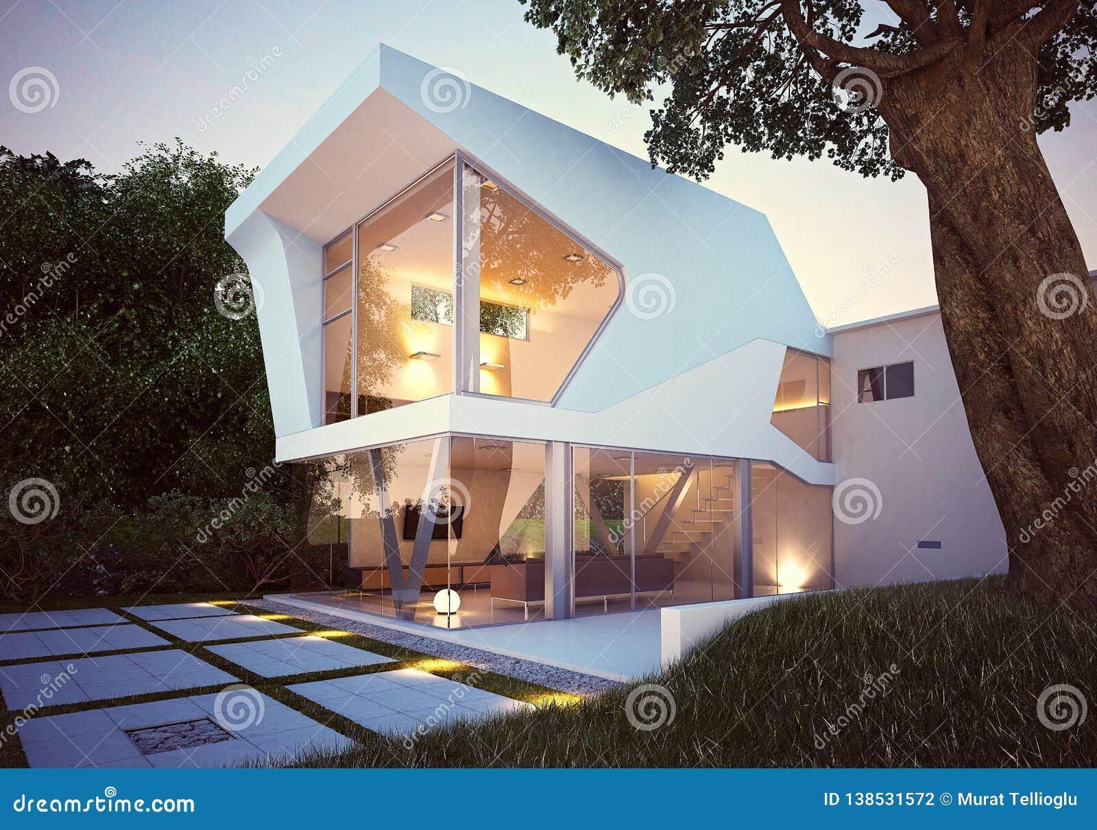 3d rendono l esterno della casa