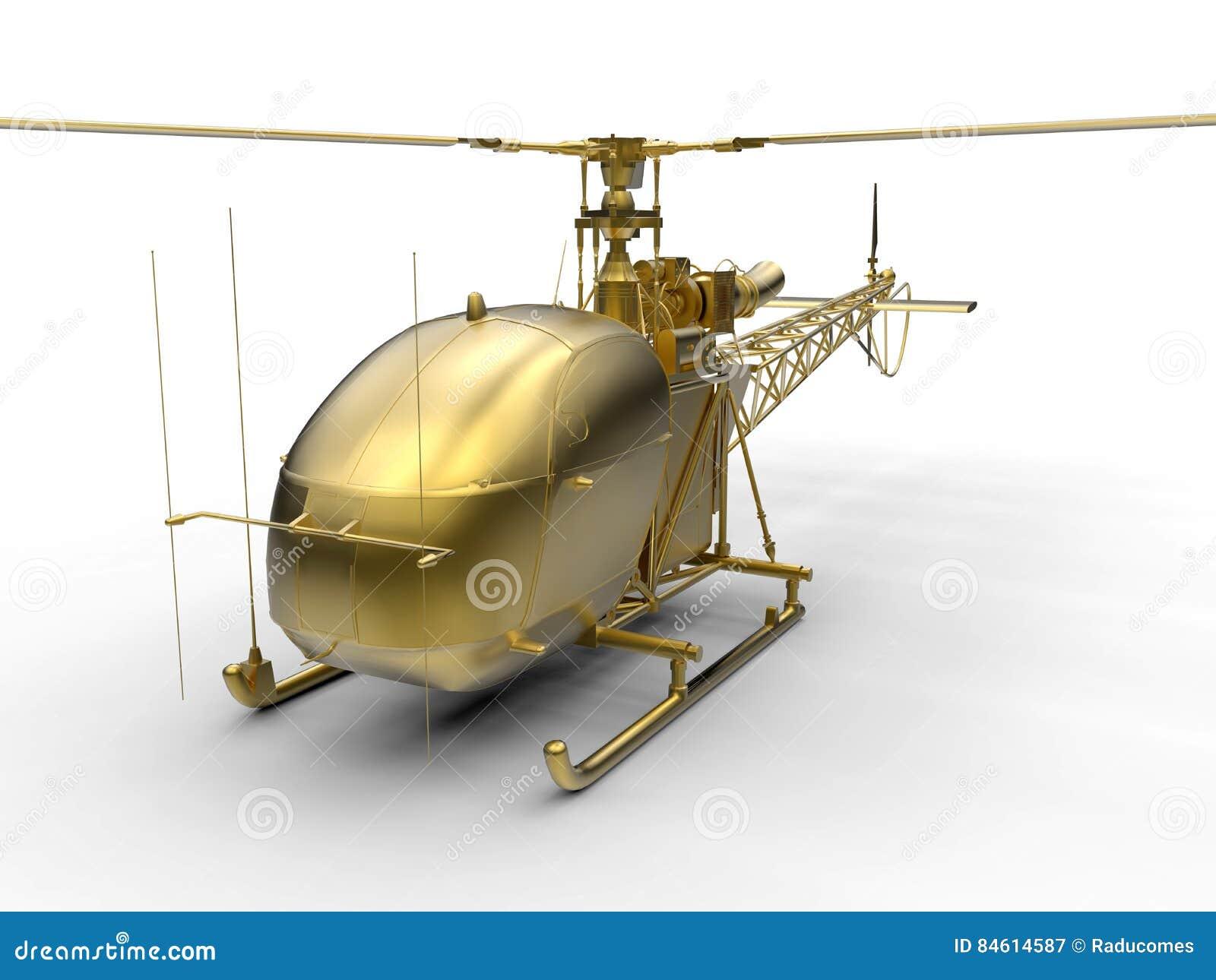 Un Elicottero : D rendono l illustrazione di un elicottero dorato illustrazione