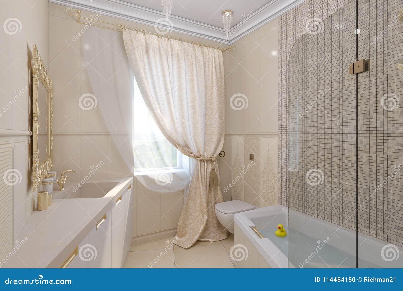 3d rendono linterior design di lusso del bagno in uno stile
