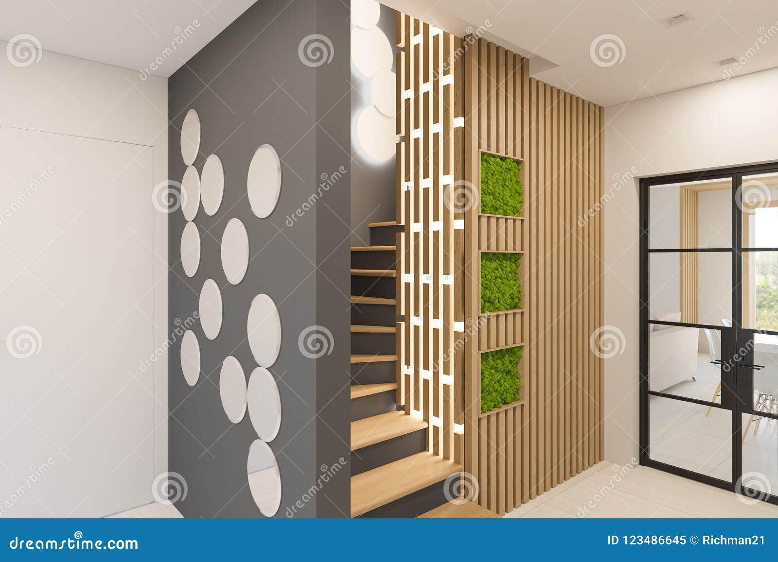 D rendono l interior design di un atrio in una casa di campagna