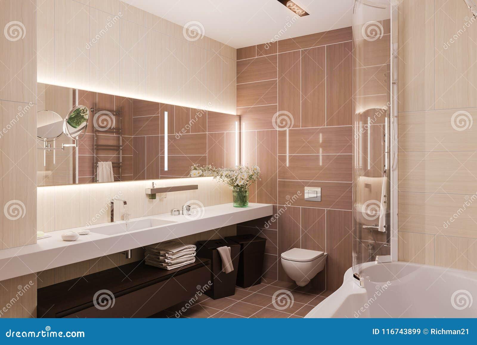 3d Rendono L\'interior Design Di Un Bagno Moderno Con Un Grande Mirr ...