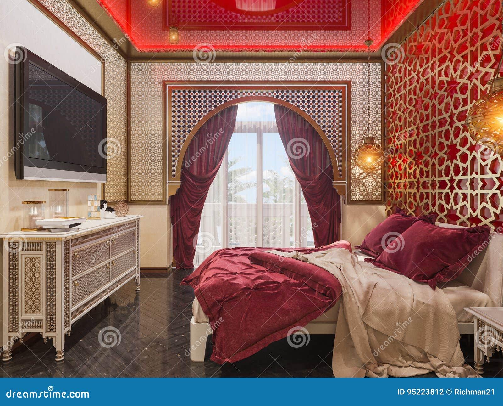 Camera Da Letto Stile Marocco : 3d rendono linterior design islamico di stile della camera da letto