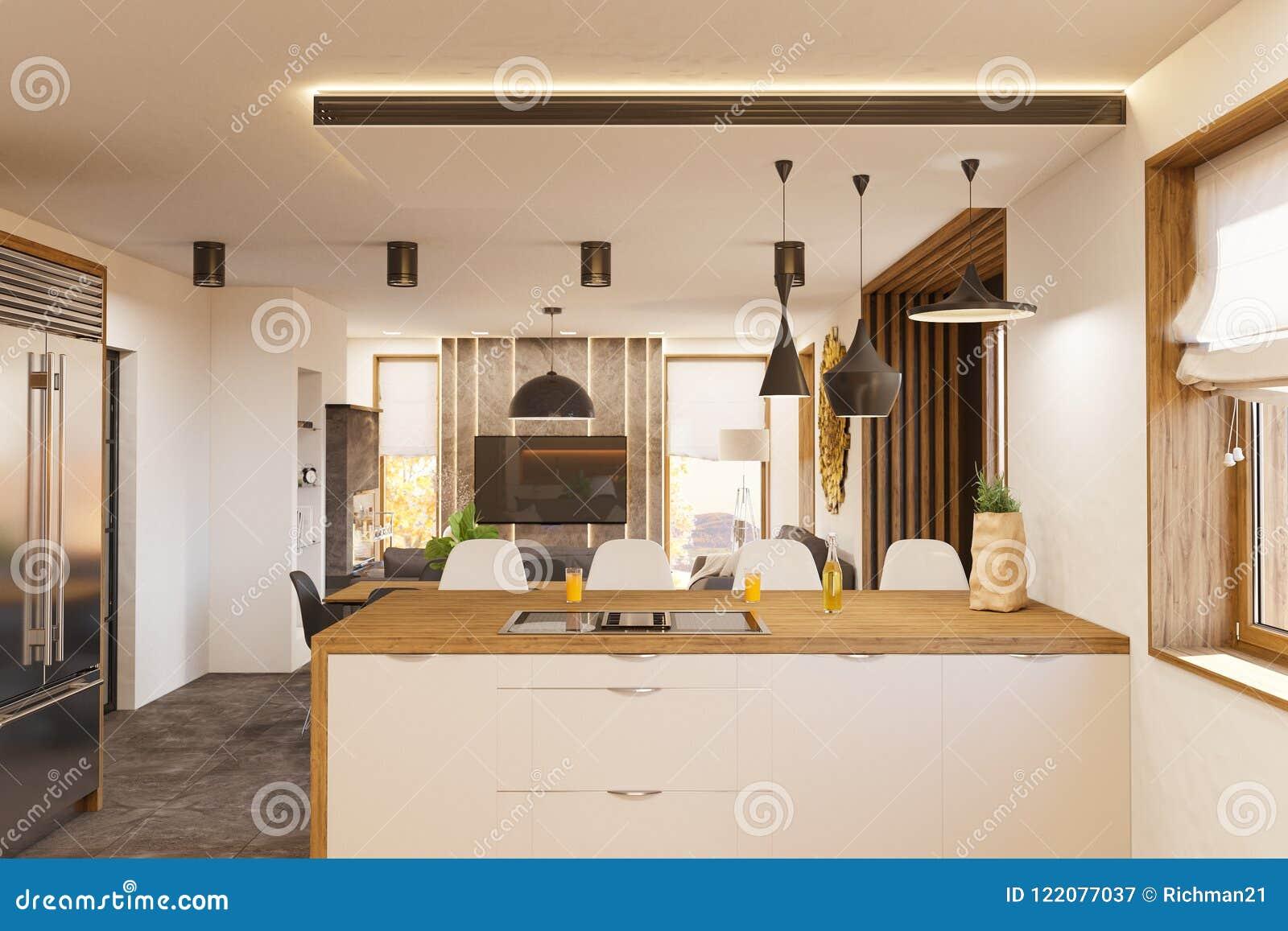 3d Rendono L Interior Design Moderno Della Cucina E Del Salone Con