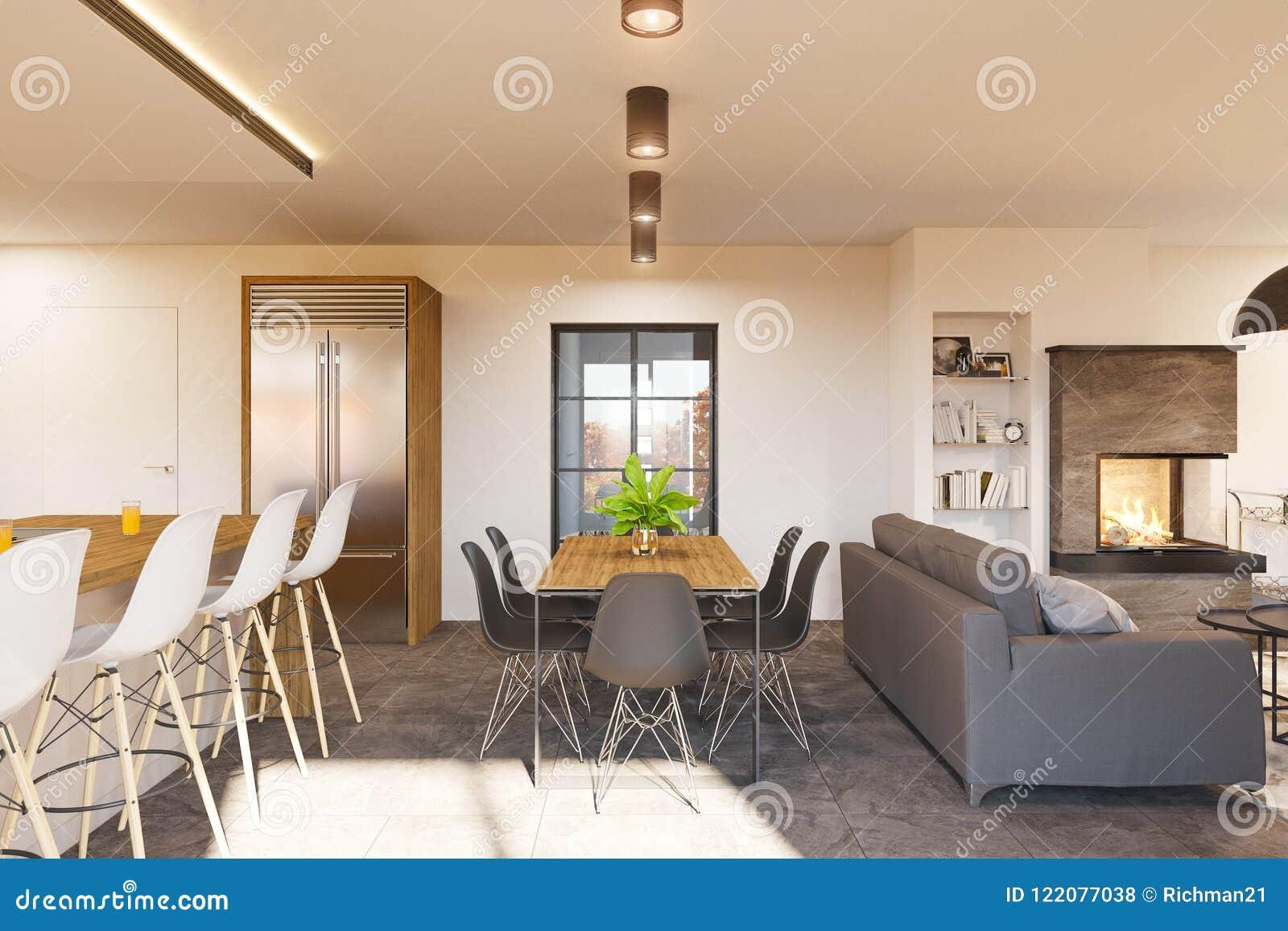 3d Rendono L\'interior Design Moderno Della Cucina E Del Salone Con ...