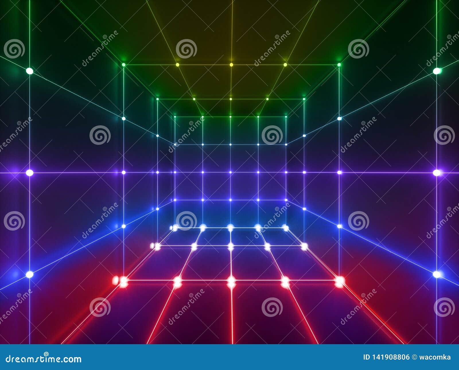 3d rendono, linee d ardore, luci al neon, fondo psichedelico astratto, gabbia del cubo, ultravioletta, colori vibranti di spettro