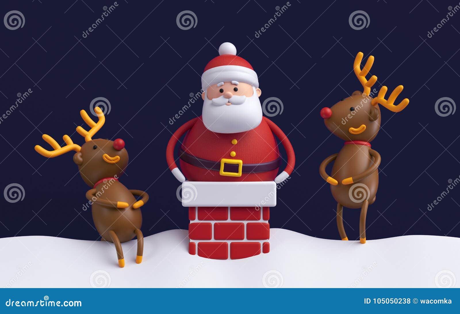 Immagini Natale Umoristiche.3d Rendono Natale Umoristico Scena Personaggi Dei Cartoni Animati