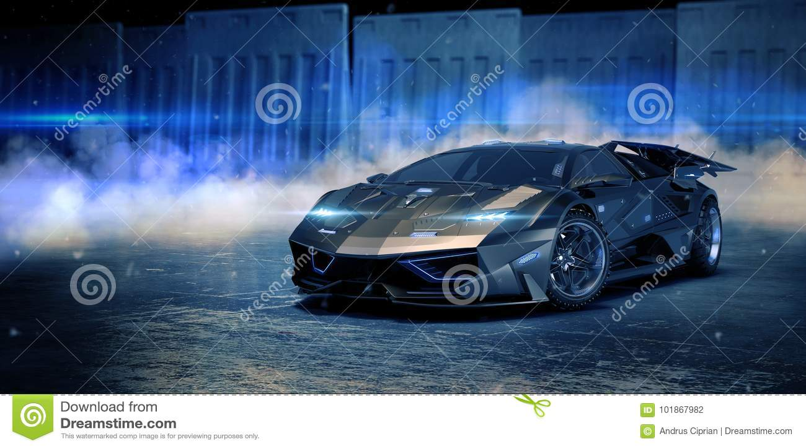 3D rendu - voiture générique de concept