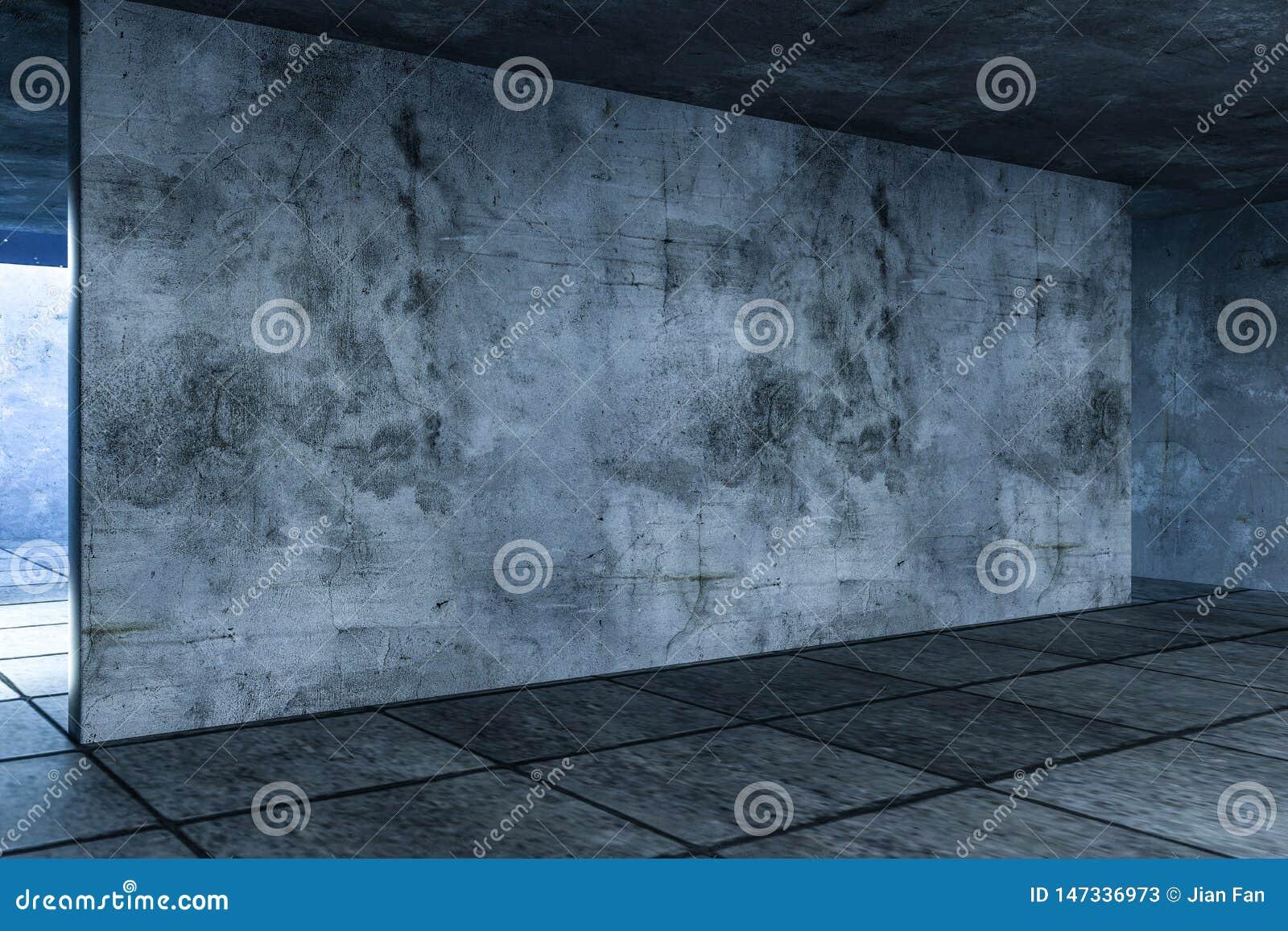 3d representación, el cuarto vacío abandonado en la noche