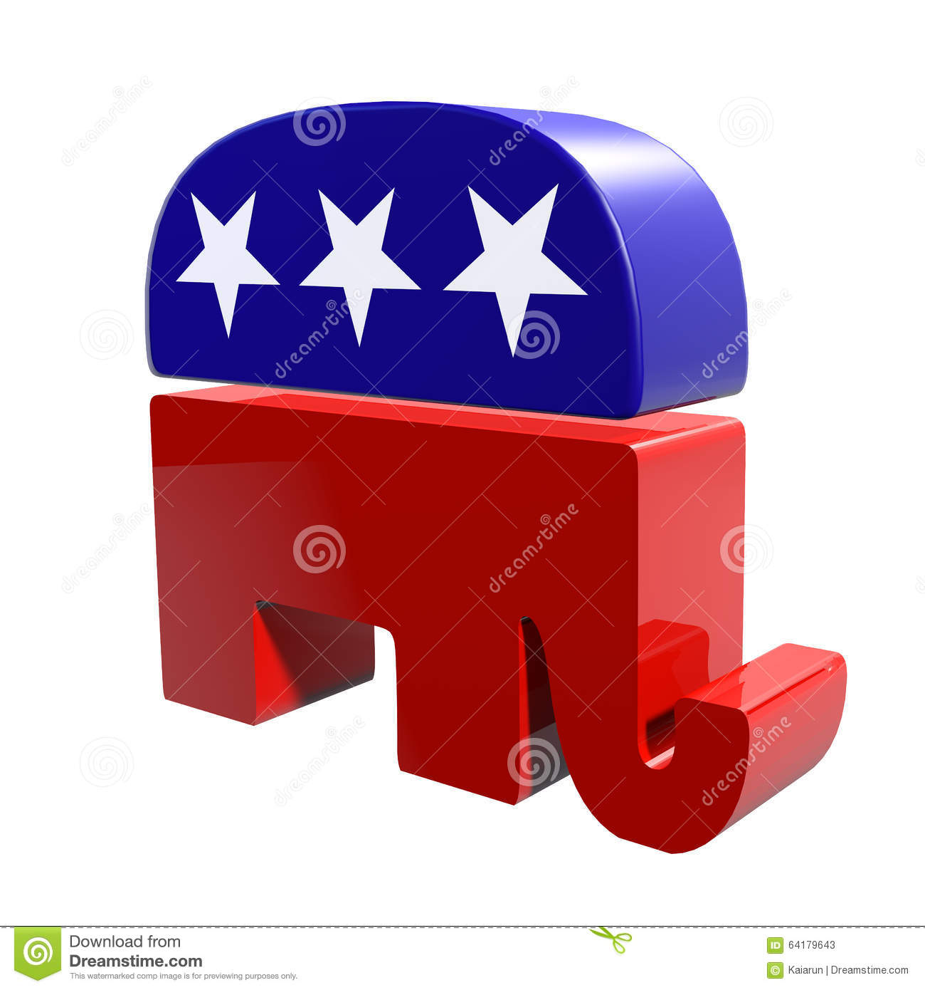 3d Republican Elephant Isolated On A White Background Editorial