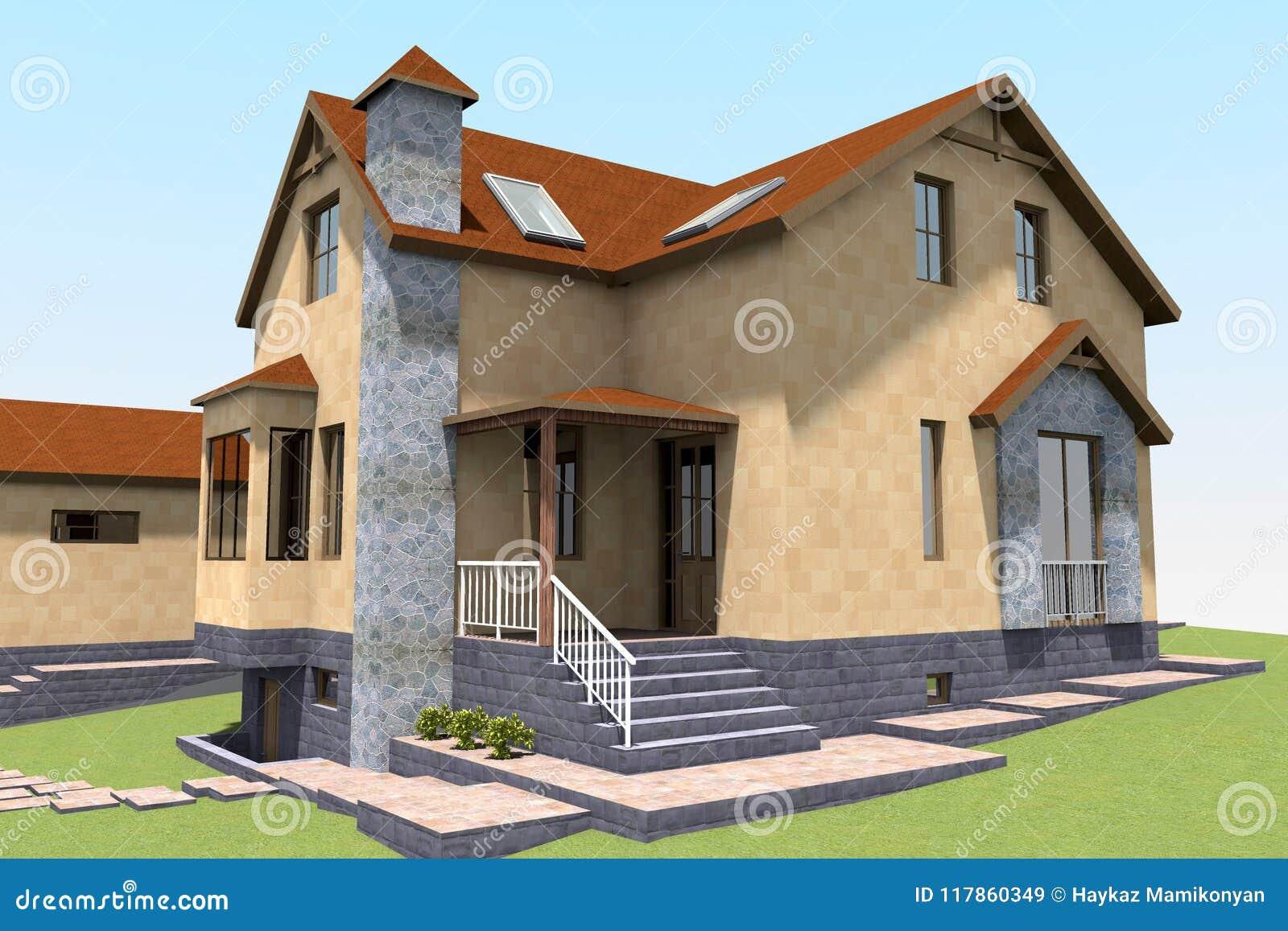 3d Residential House Render Stock Illustration Illustration Of