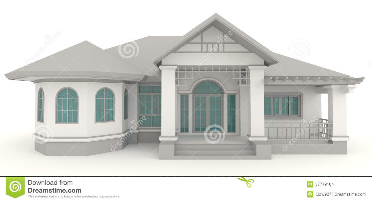 3d retro house architecture exterior design in whi stock for House plans architecture
