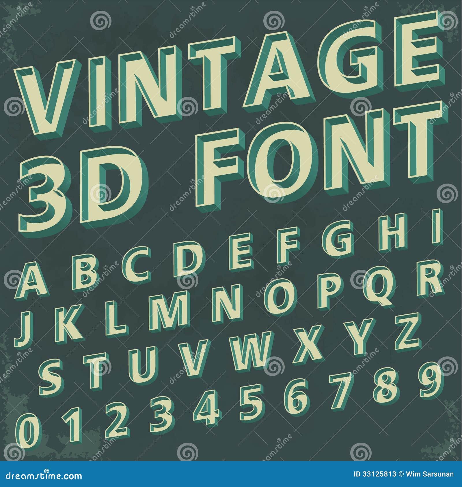 3d Retro Type Font Vintage Typography Stock Photos