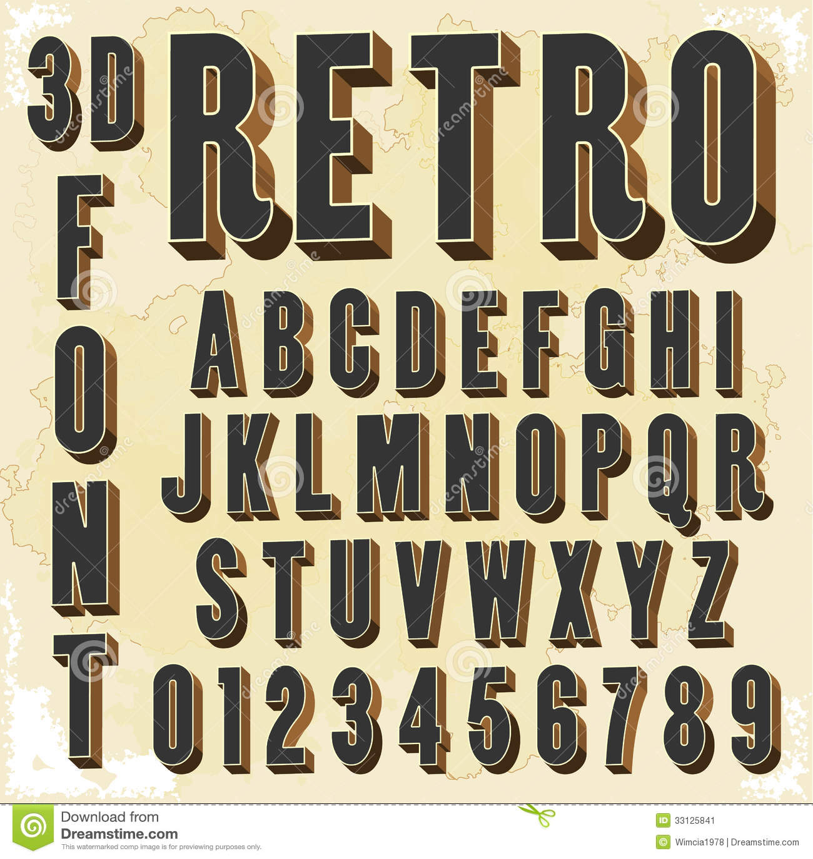 3d Retro Type Font Vintage Typography Stock Image Image