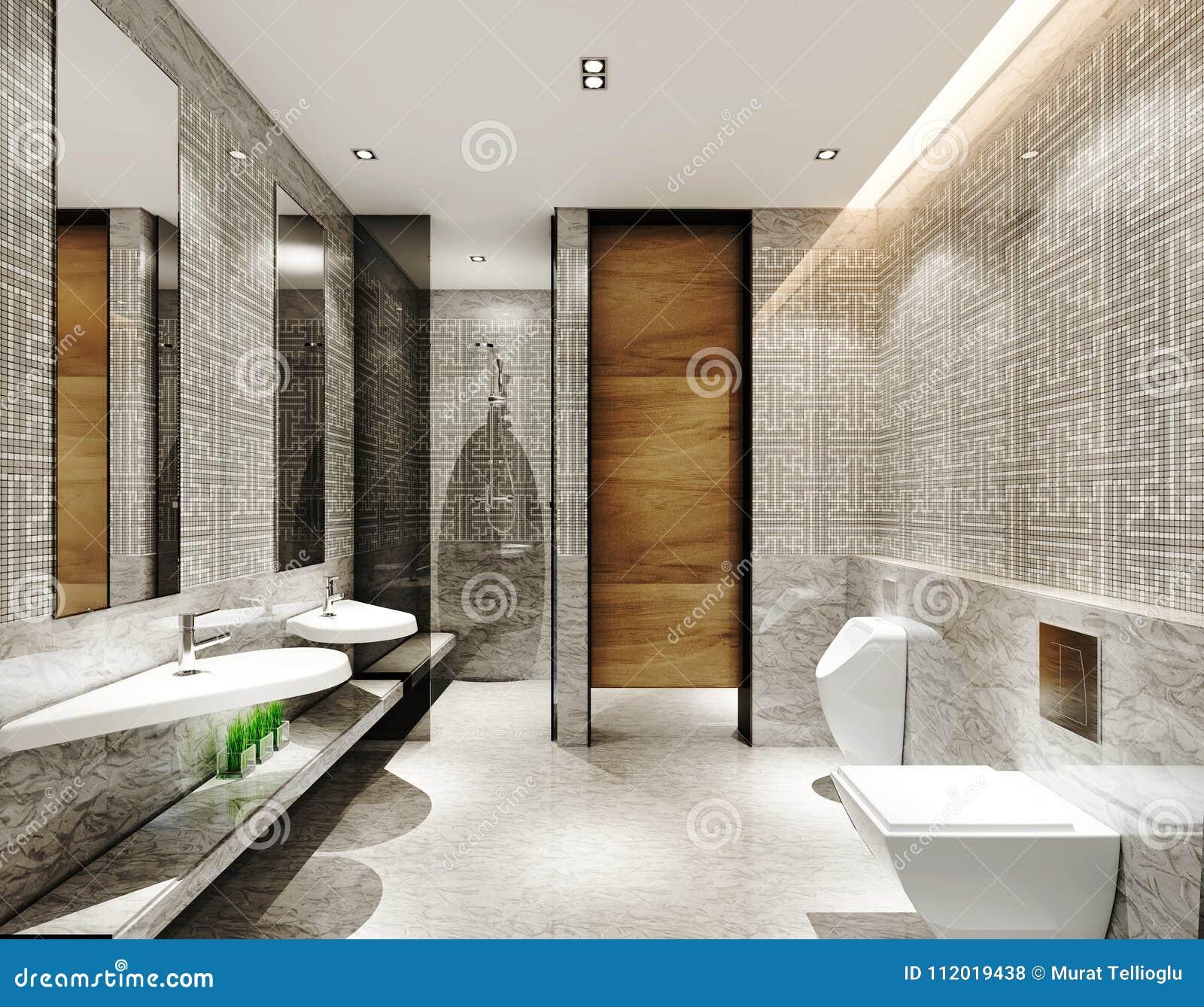 3D Rinden De Cuarto De Baño Moderno