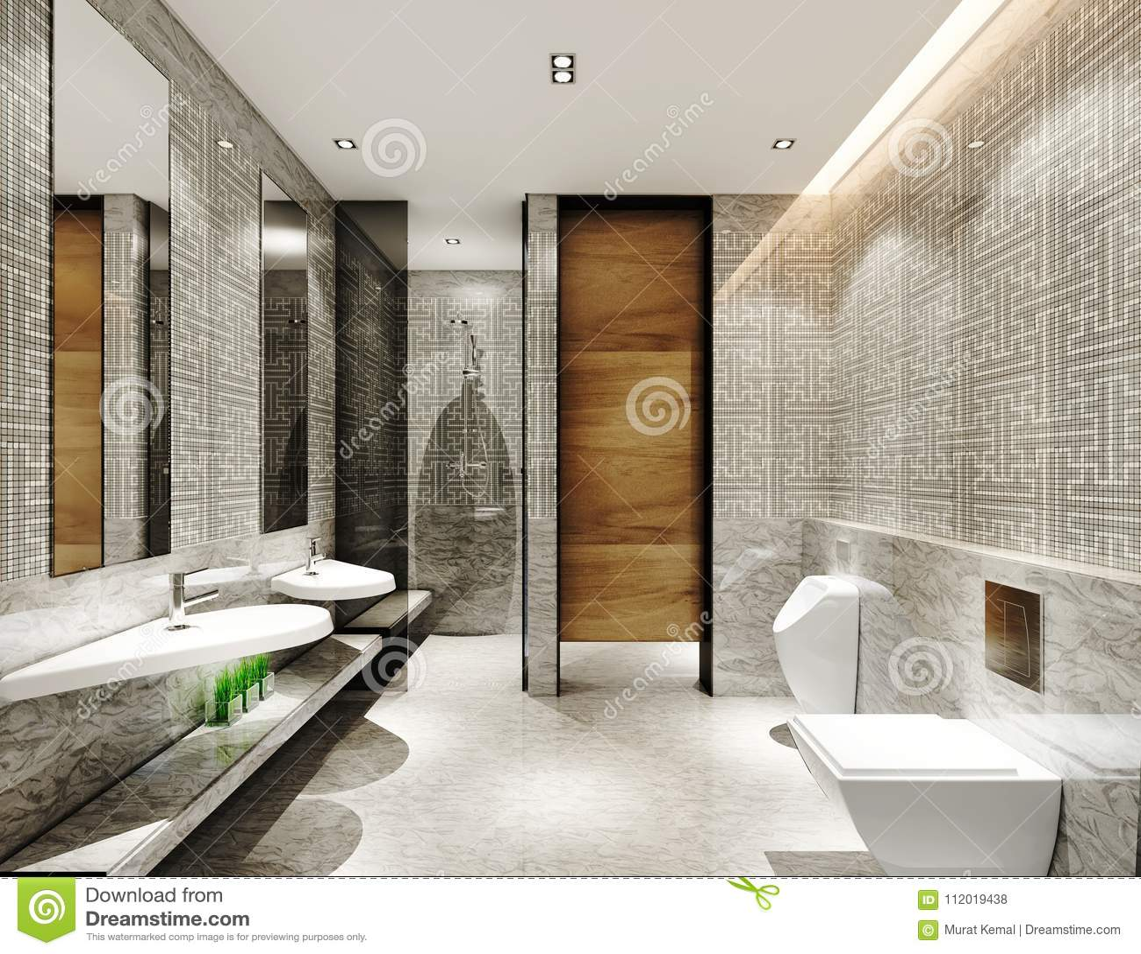 3D Rinden De Cuarto De Baño Moderno Stock de ilustración ...