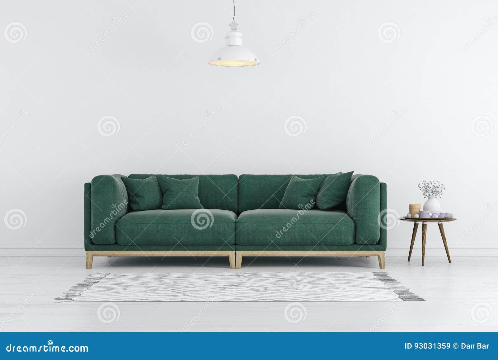 3d rinden de interior hermoso con el sofá verde y las paredes blancas