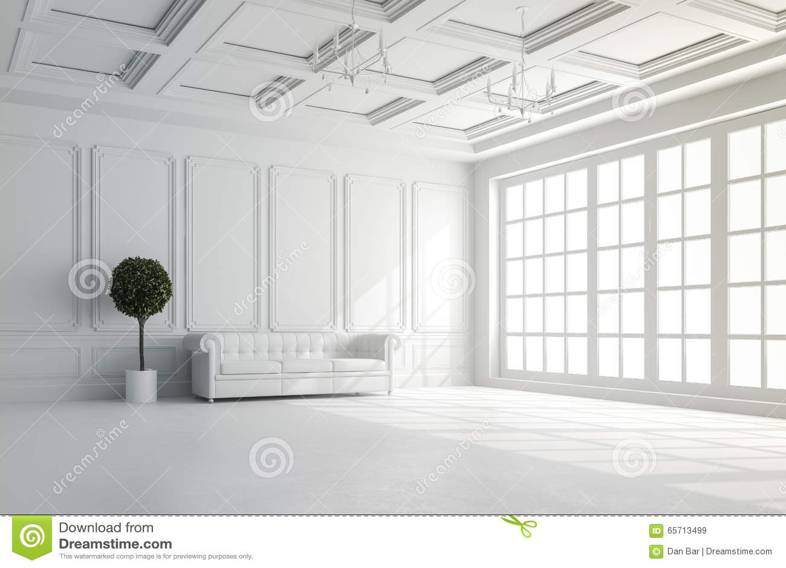 3d rinden de interior hermoso con las paredes blancas y la disposición del techo
