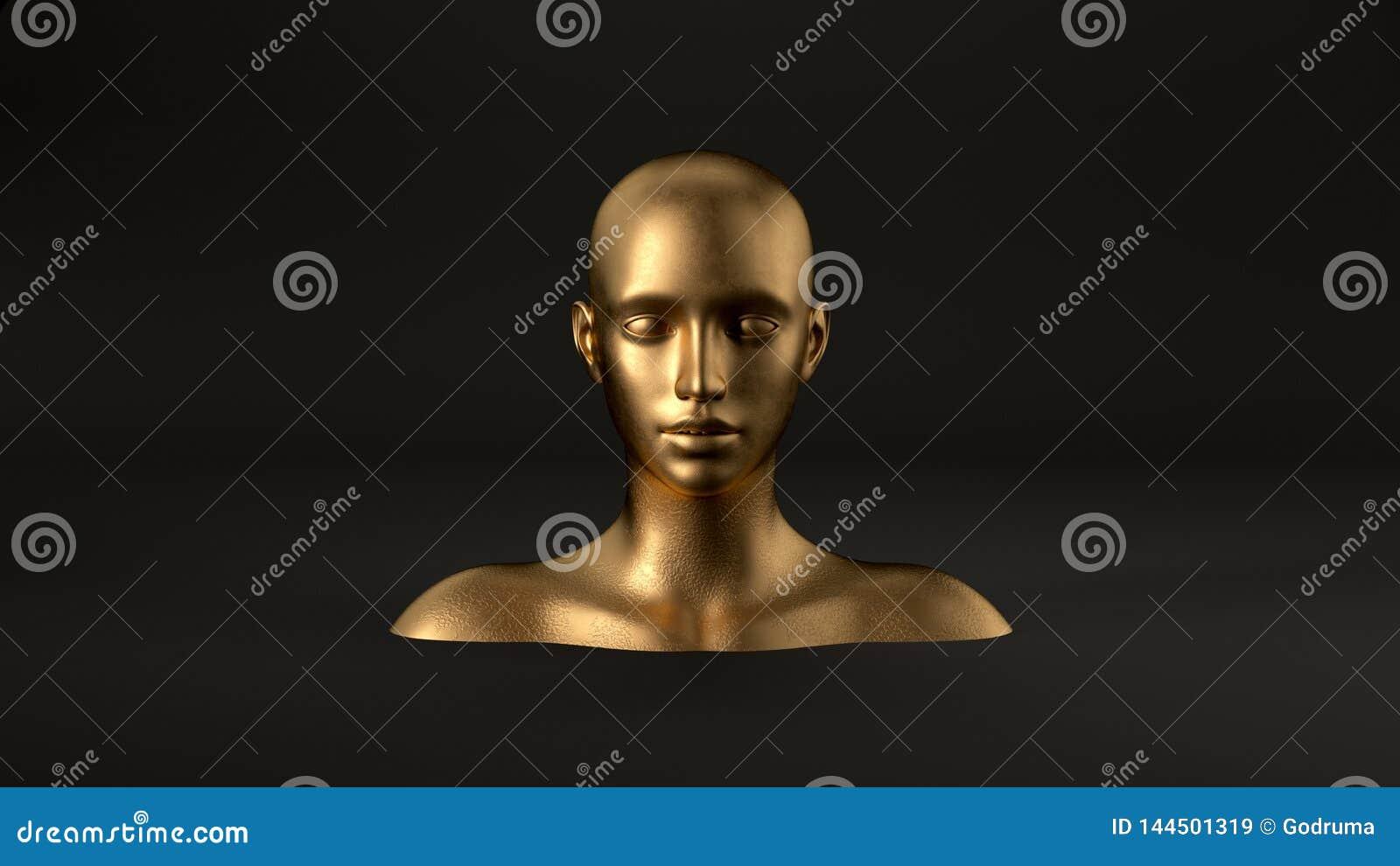3d rinden de la cabeza femenina del maniquí del extracto en fondo negro Mujer de la manera Rostro humano del oro