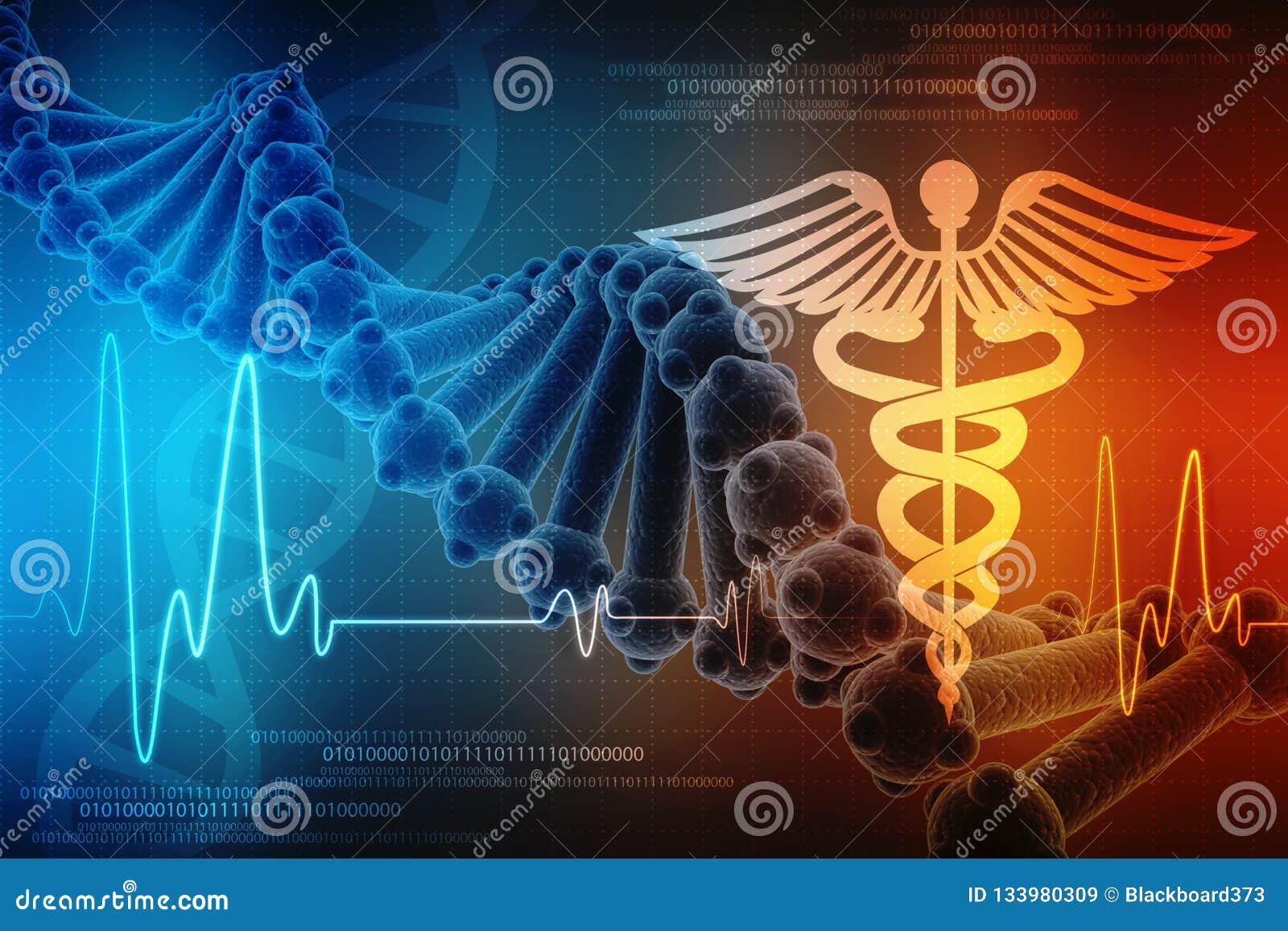 3d rinden de la estructura de la DNA en el fondo médico de la tecnología, concepto de bioquímica con la DNA