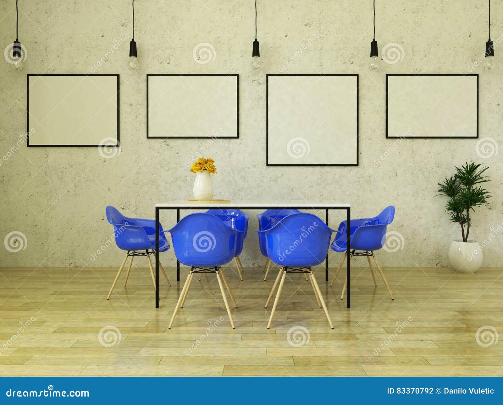 3d rinden de la mesa de comedor hermosa con las sillas for Sillas azules comedor