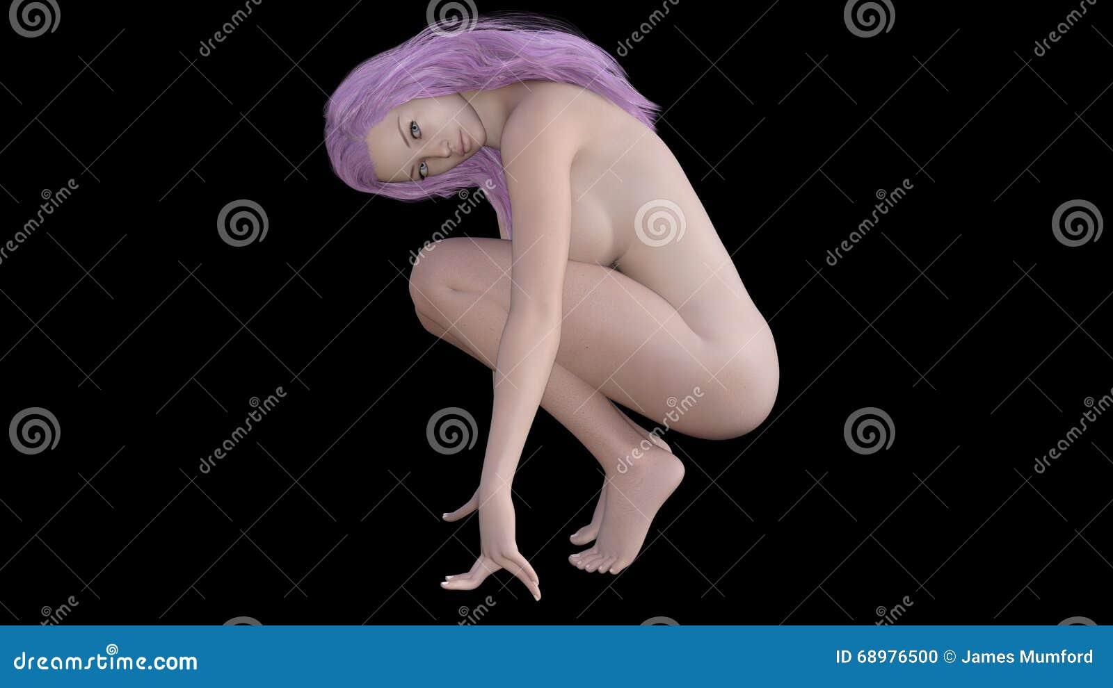 3D rinden de la muchacha desnuda (001) hecha en el estudio 4 de Daz 3D 9