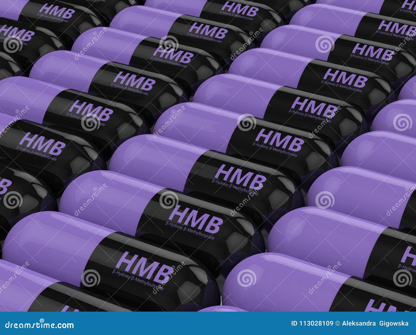 3d rinden de píldoras de HMB en fila