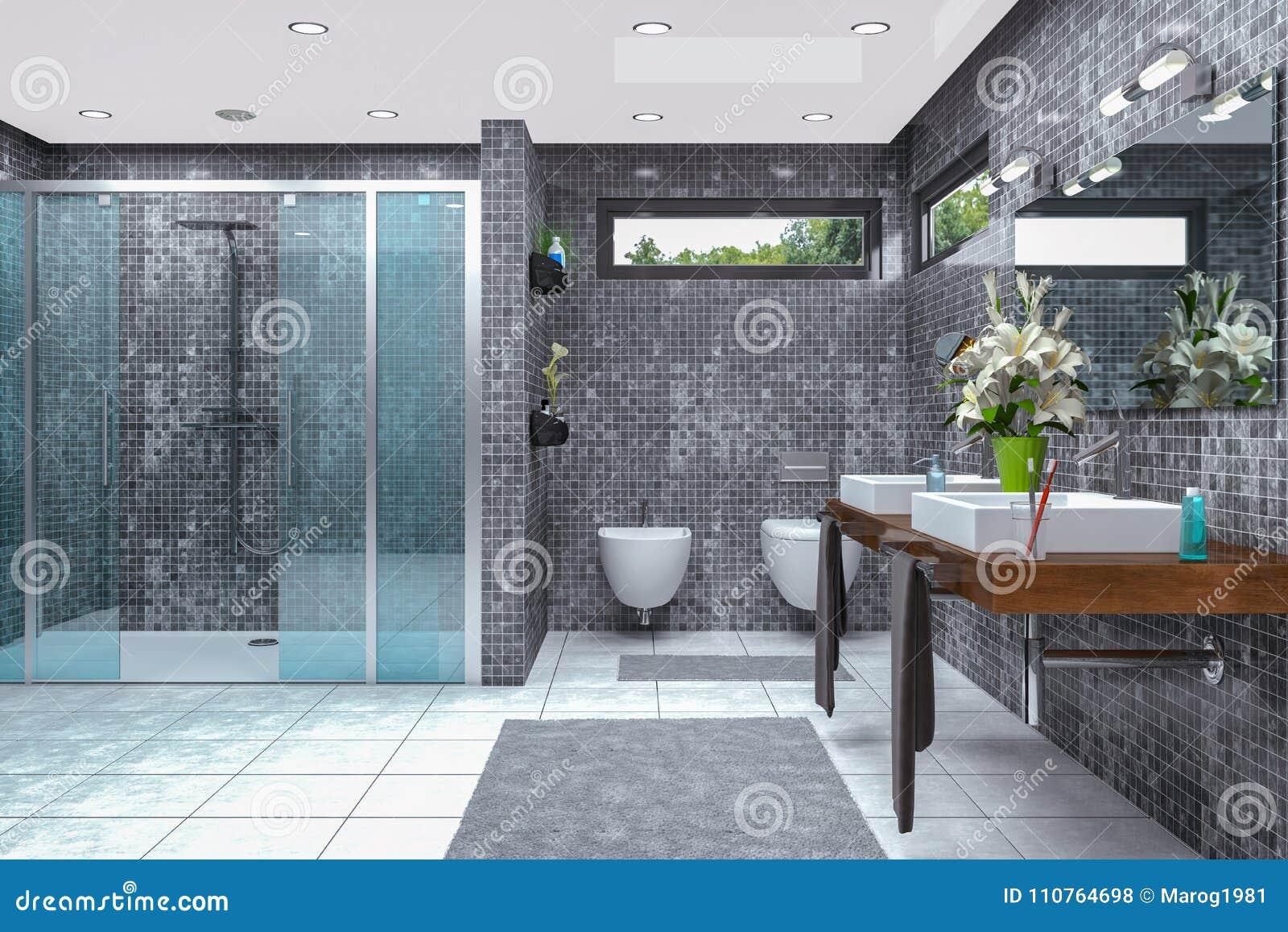 3d Rinden De Un Cuarto De Baño Moderno Stock de ilustración ...