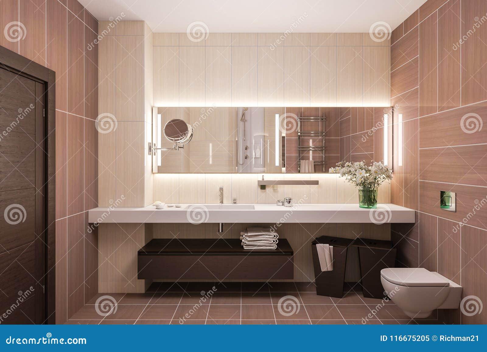 3d Rinden Diseño Interior De Un Cuarto De Baño Moderno Con Un Espejo ...